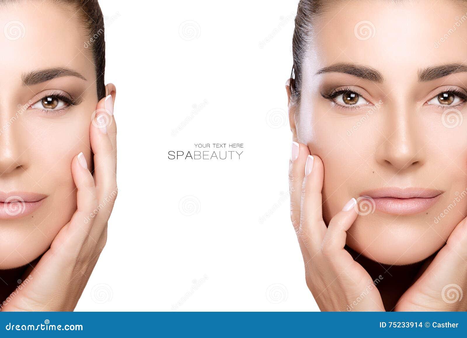 Beleza e conceito do skincare Dois retratos da cara