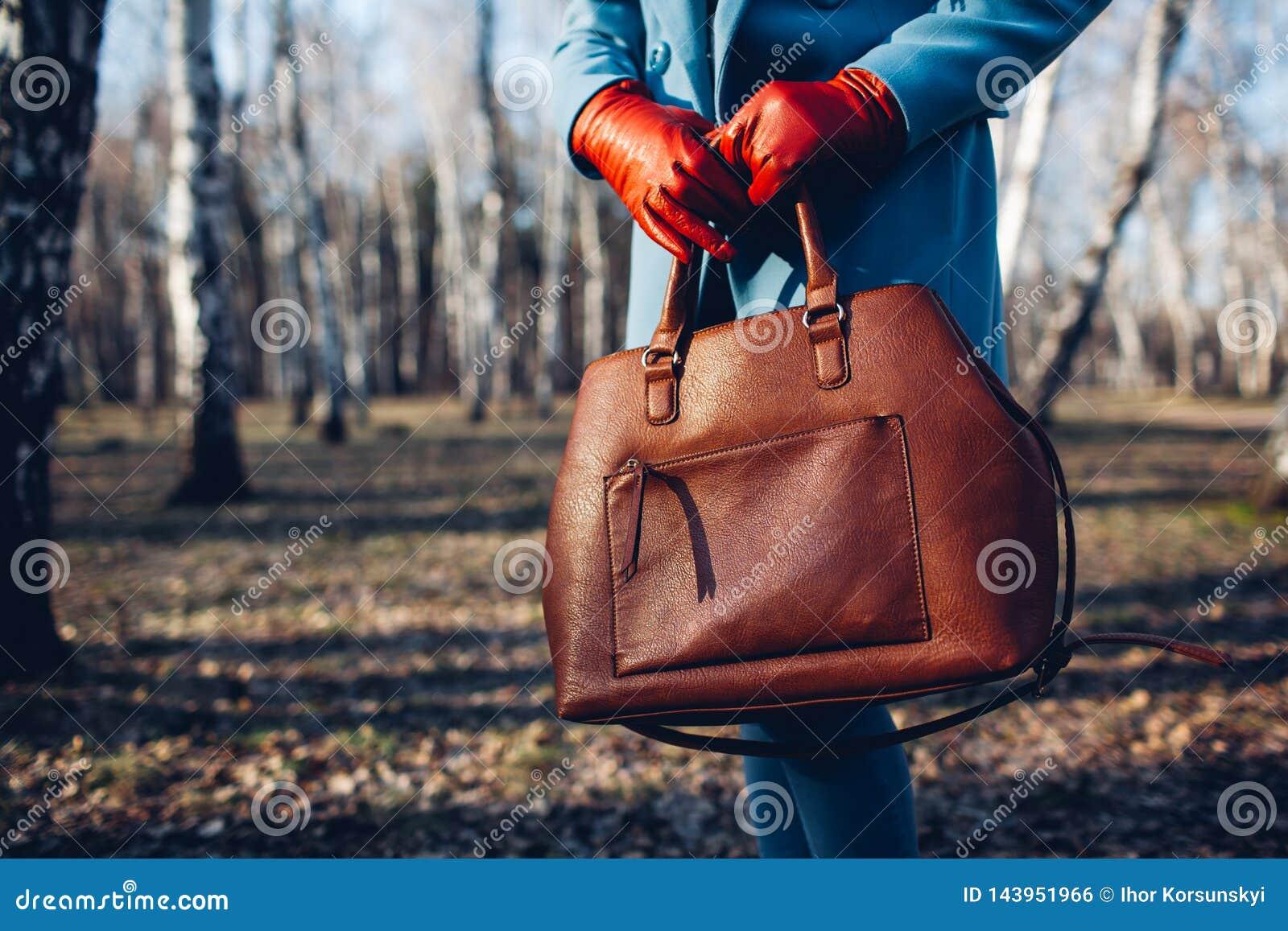 Beleza e f?rma Mulher elegante ? moda que veste o vestido brilhante que guarda a bolsa marrom do saco