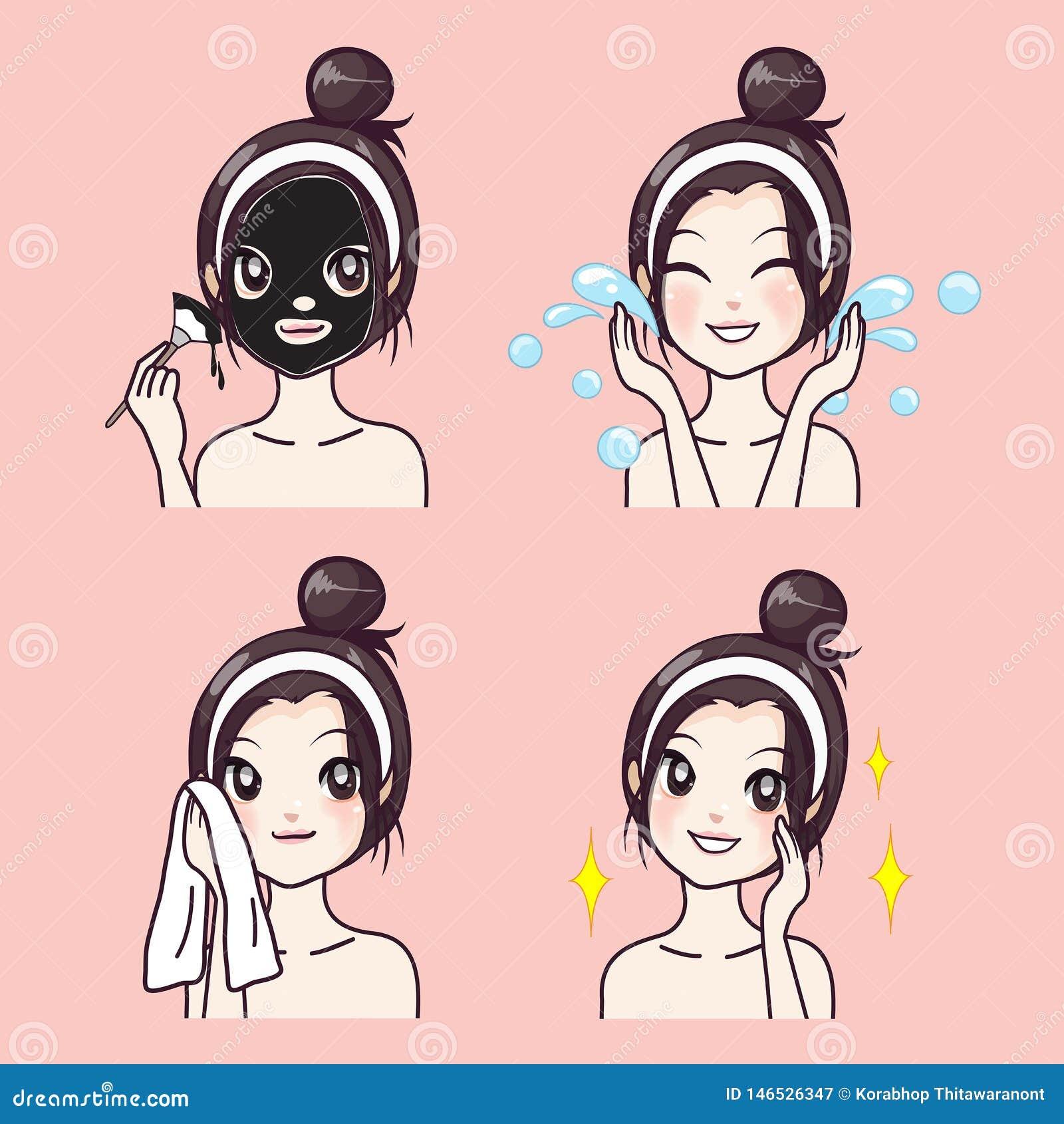 Beleza facial do tratamento da lama pela menina bonita