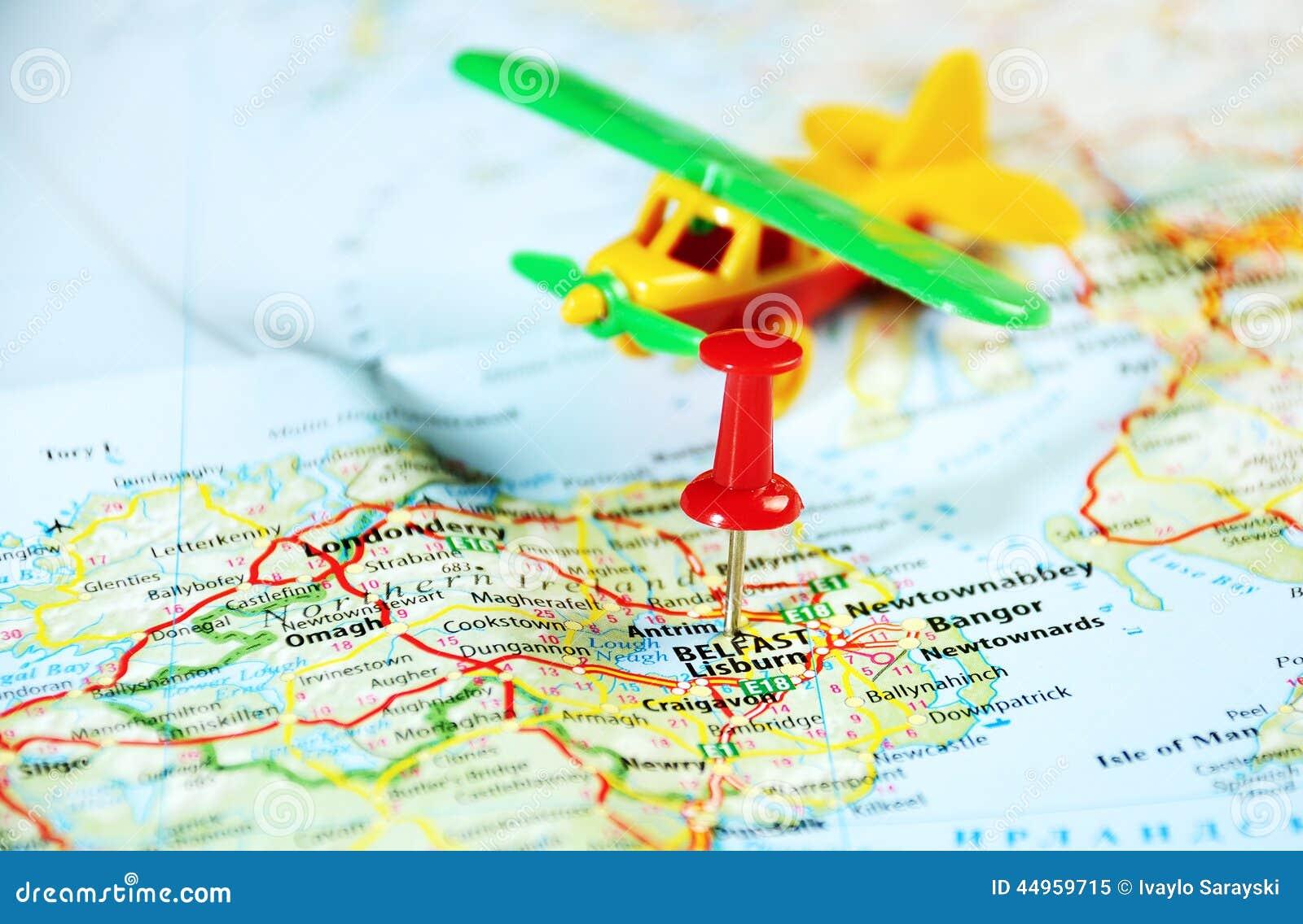 Belfast Ireland ,United Kingdom Map Airplane Stock Image - Image of ...