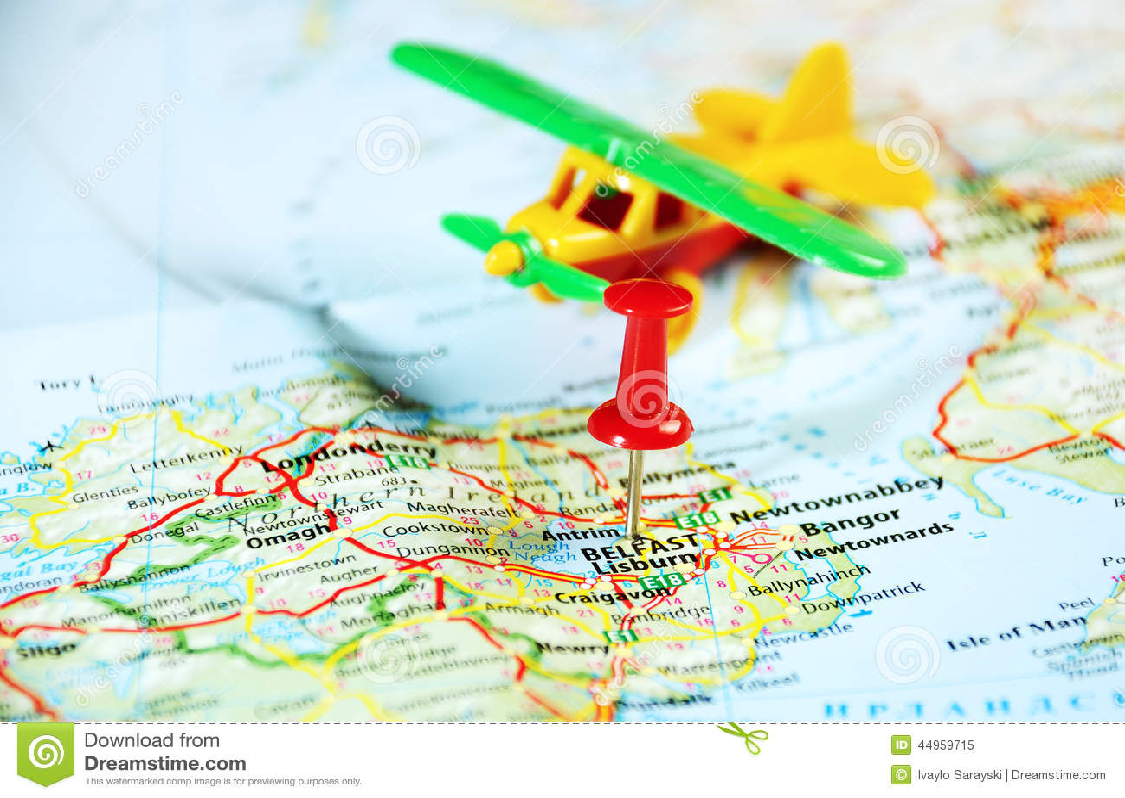 Belfast Ireland ,United Kingdom map airplane