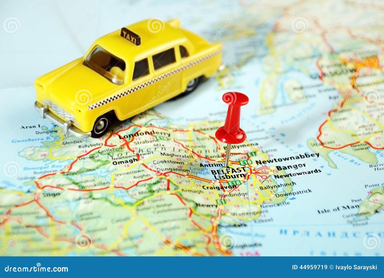 Belfast taxi de carte d Irlande, Royaume-Uni