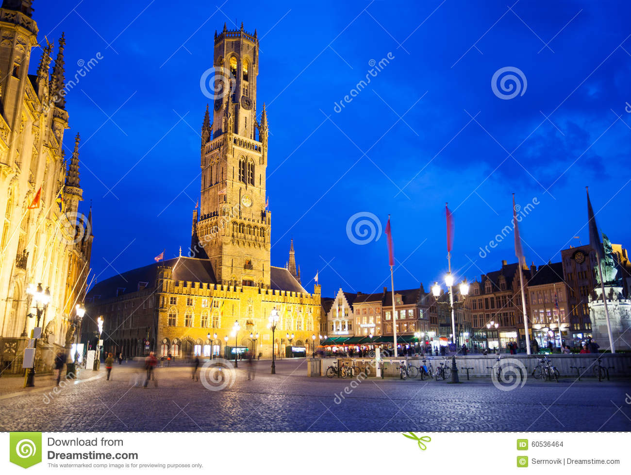 Belfry of Bruges and Grote Markt at night