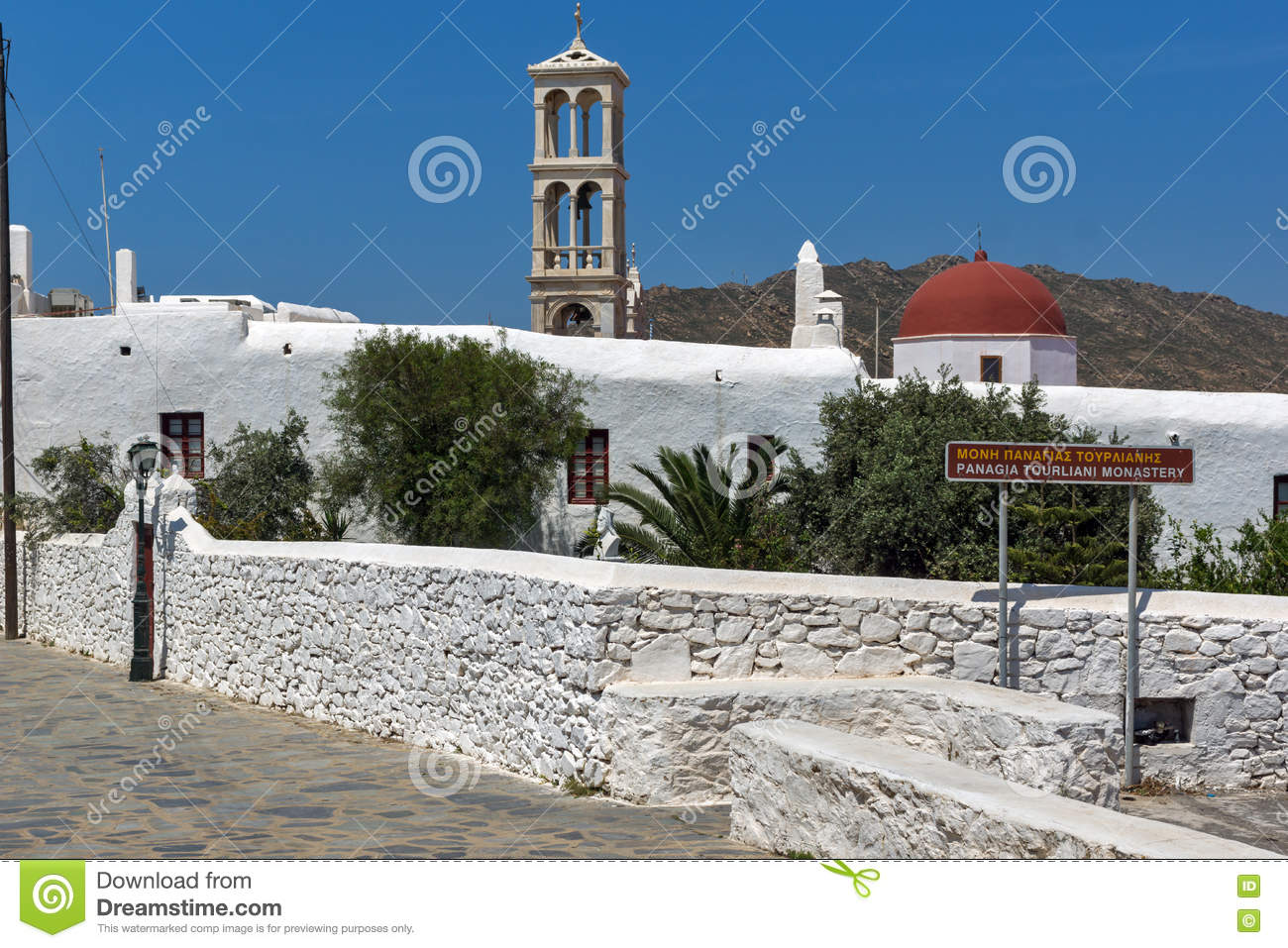 Belfry of of Panagia Tourliani monastery in Town of Ano Mera, island of Mykonos, Greece