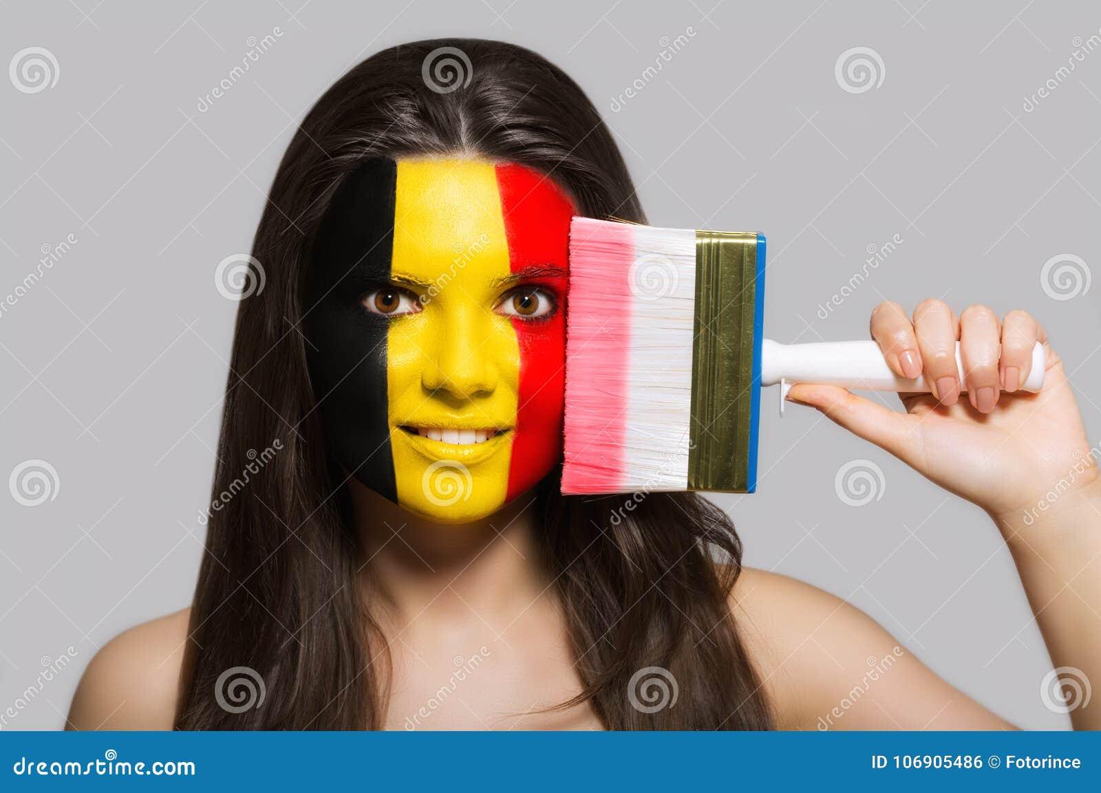 Belgia flaga malująca na twarzy