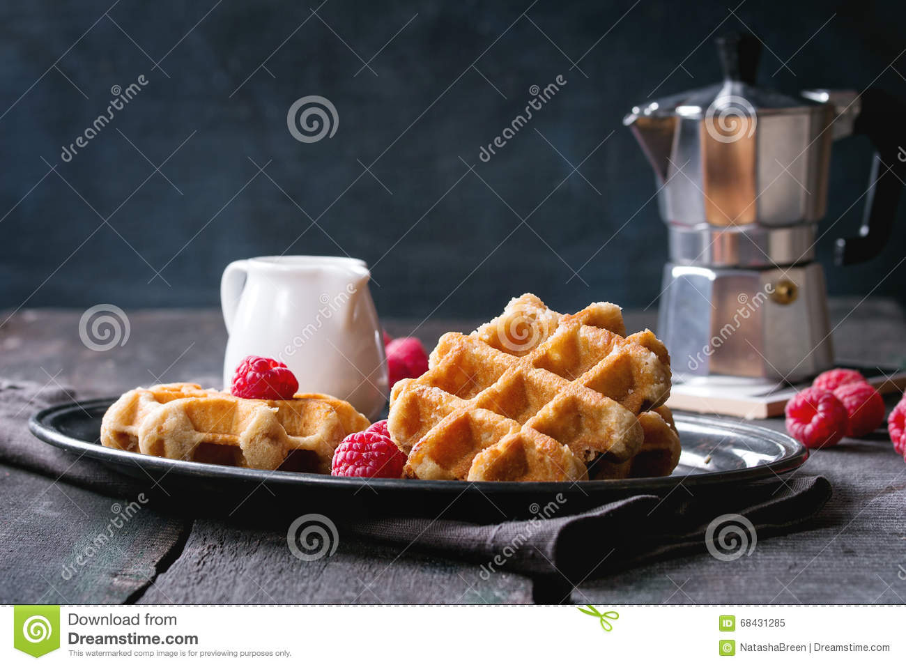 Belgian waffles with raspberries