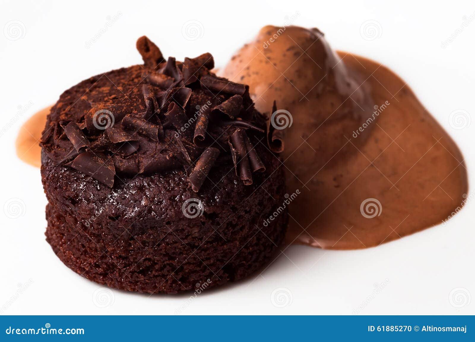 Belgisk chokladmuffinkaka och rikt och läckert closeupmellanmål för glass