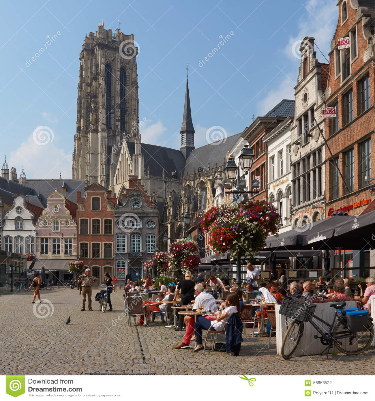 Belgium. Beautiful City Mechelen. Grote Markt Editorial ...