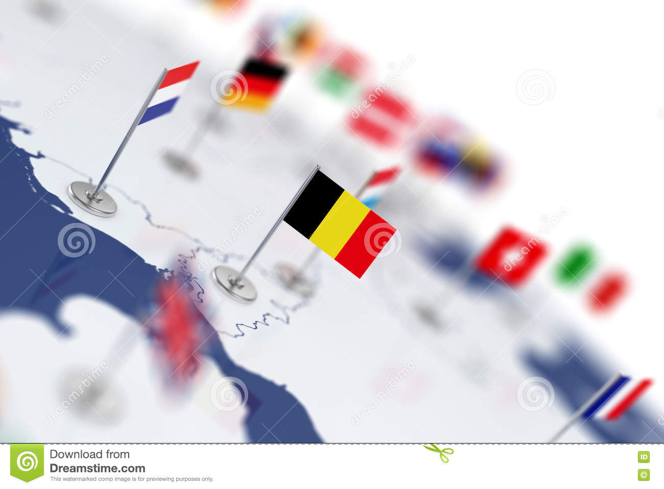 Belgium Flag In The Focus Europe Map With Countries Flags Stock