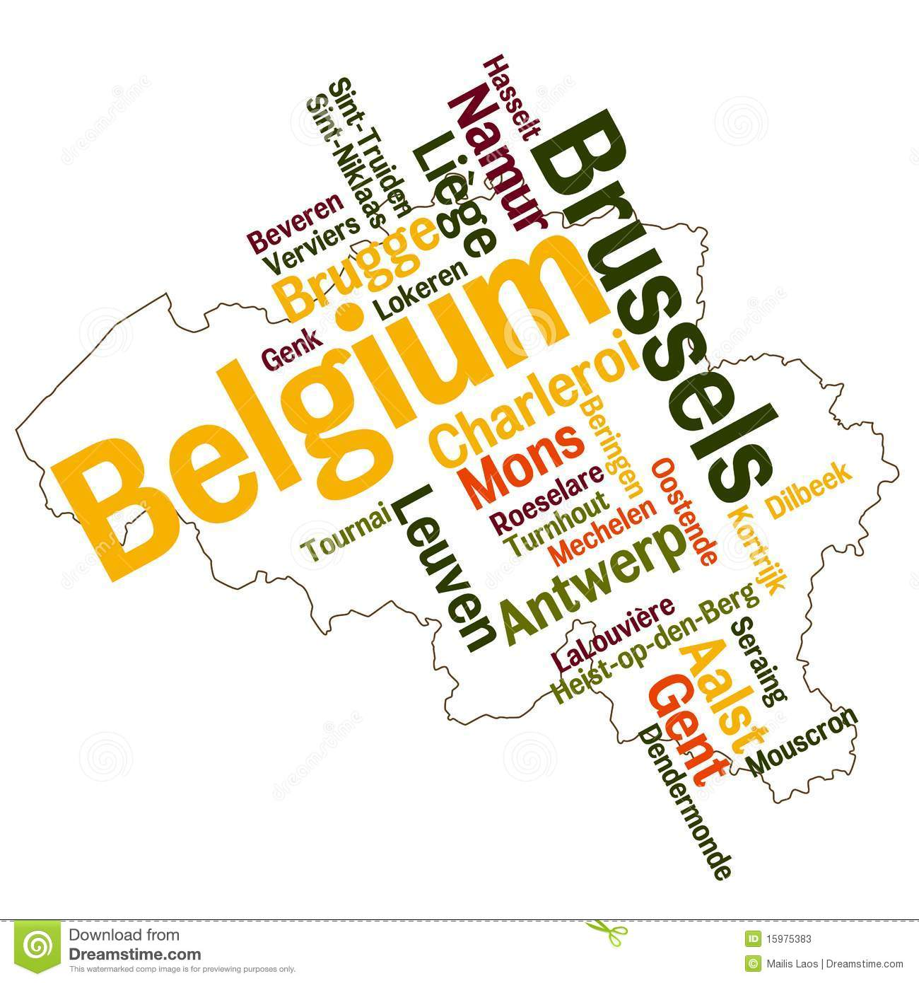 Belgium Map And Cities Photos Image 15975383 – Map of Belgium with Cities