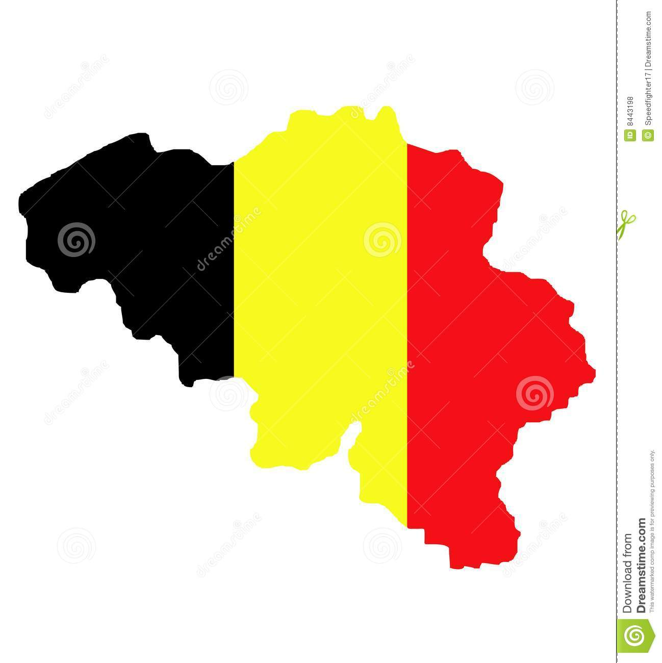 Belgium map and flag