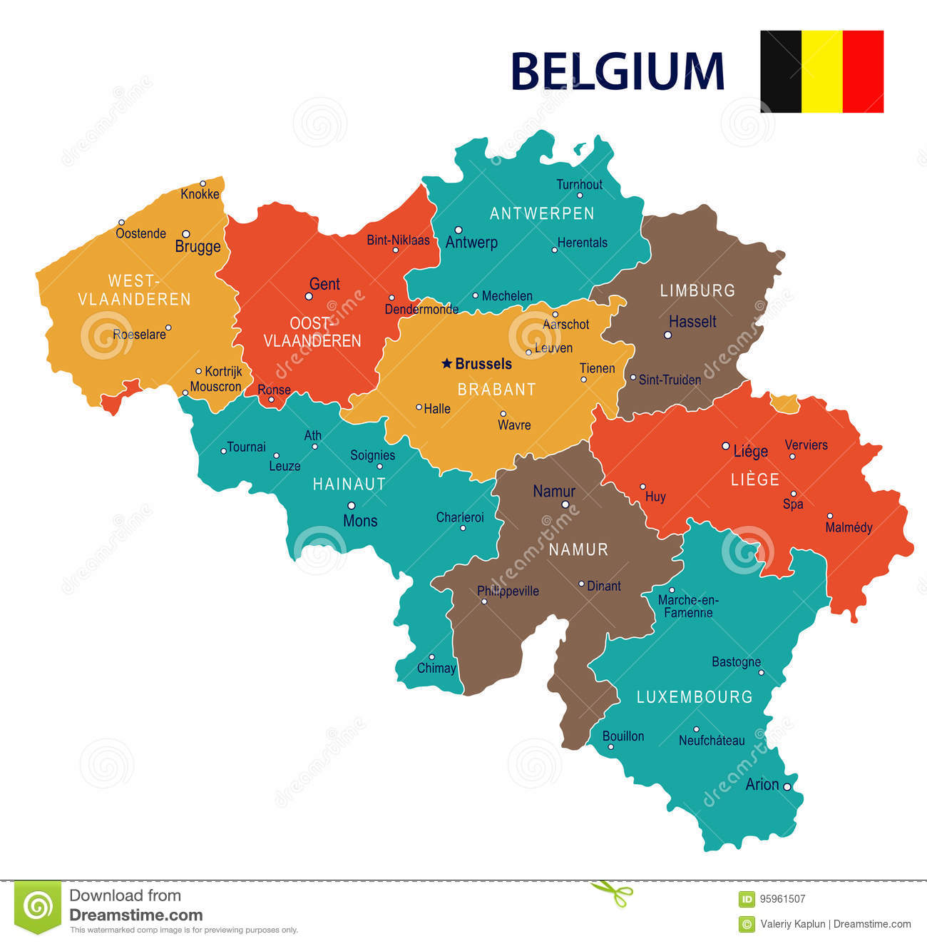 Belgium - Map And Flag Illustration Stock Illustration ...