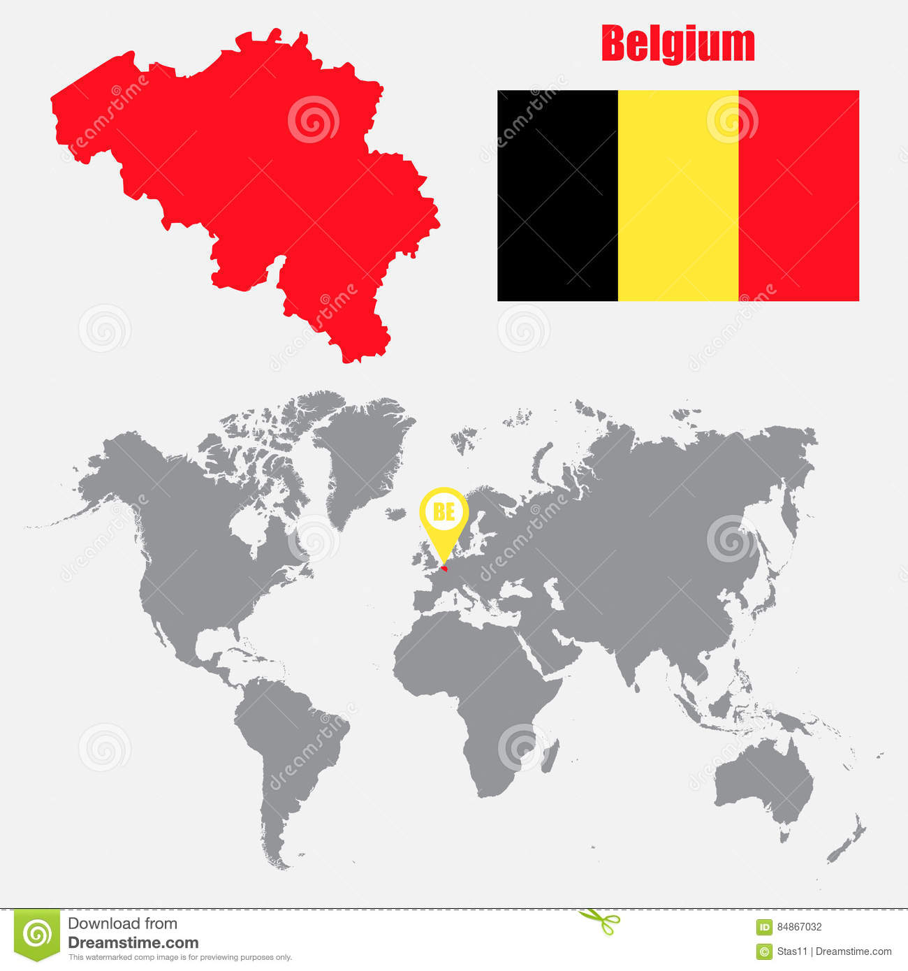 Belgium Map On A World Map With Flag And Map Pointer Vector