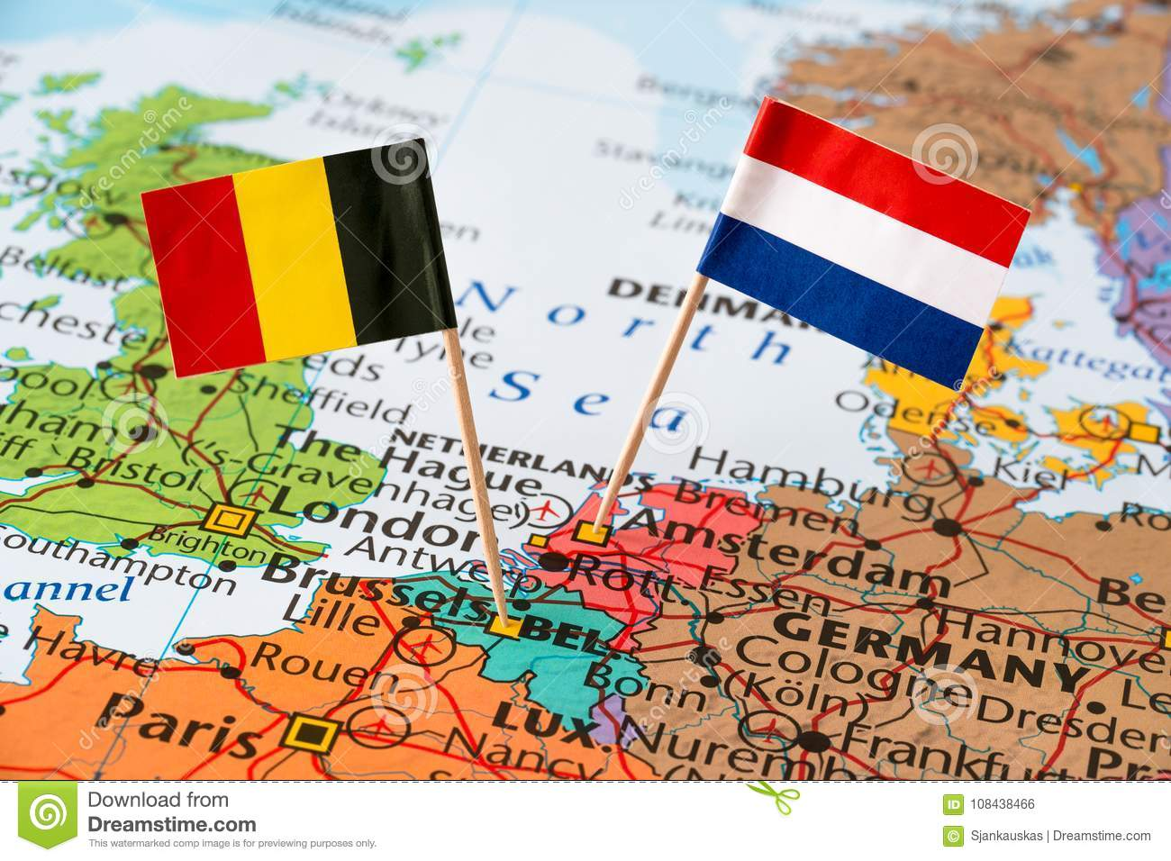 Belgium and Netherlands flags on map