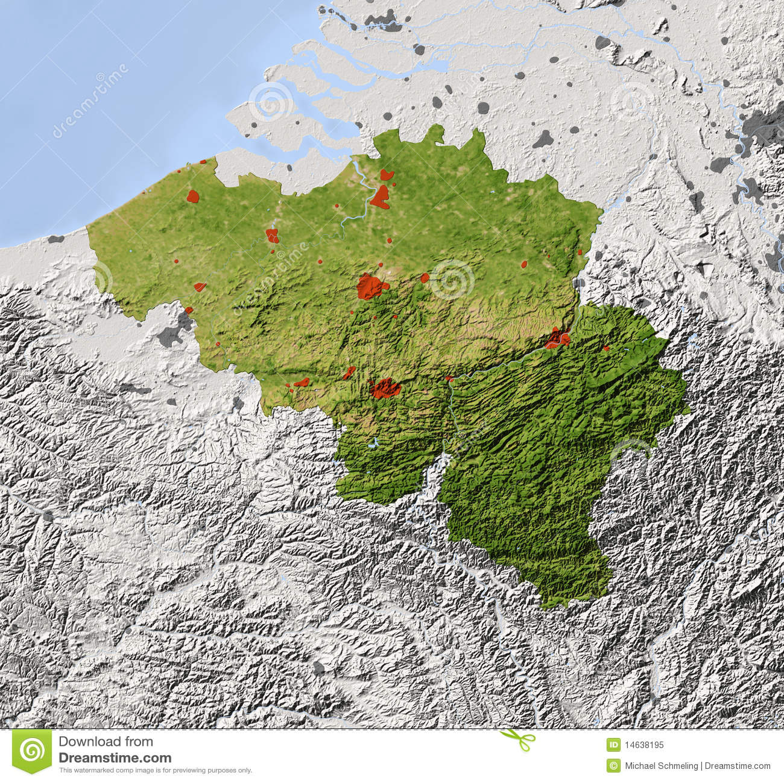 Belgium Topographic Map.Belgium Shaded Relief Map Stock Illustration Illustration Of
