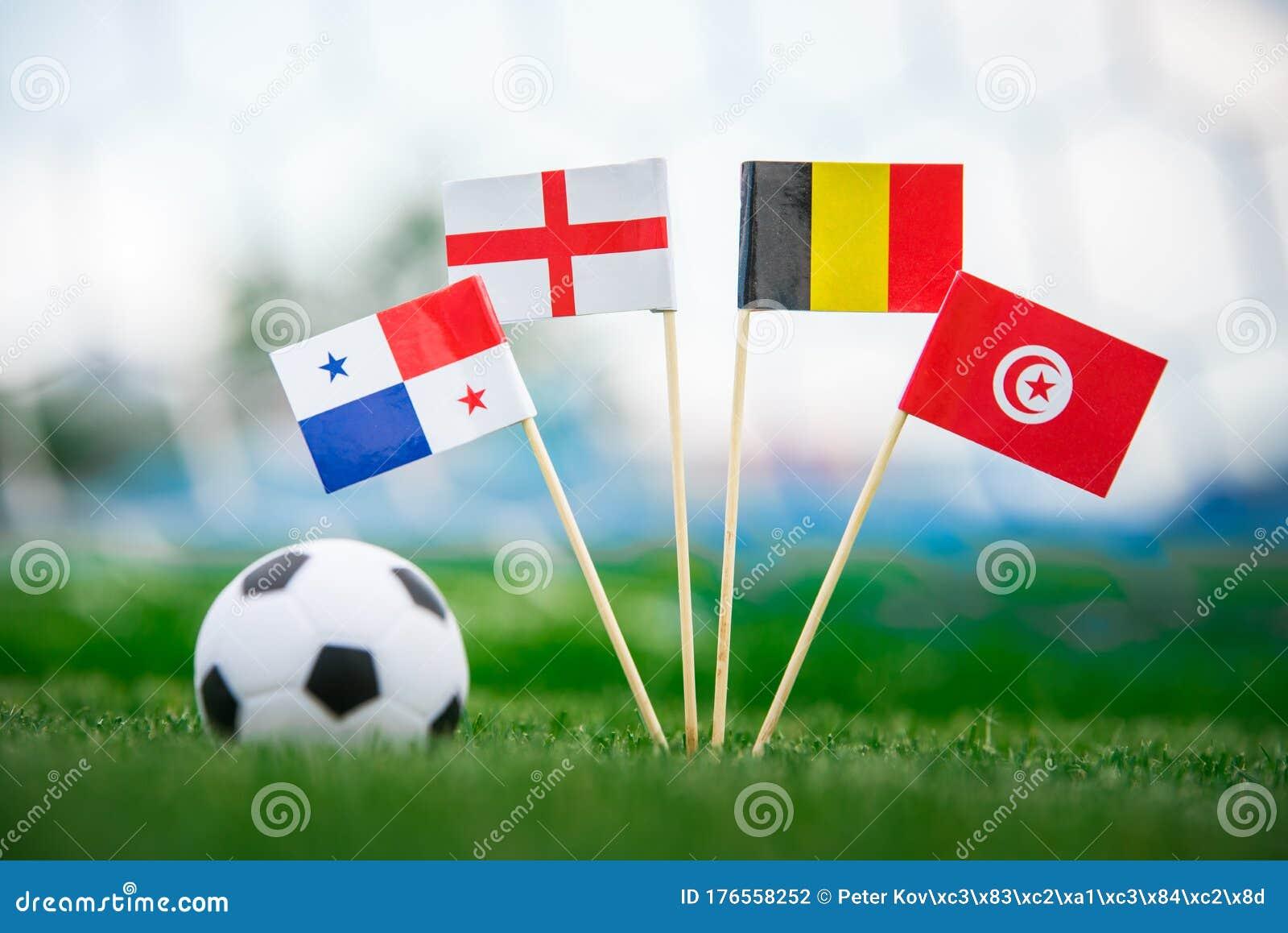 Belgium, Tunisia, England - National Flags On Green ...