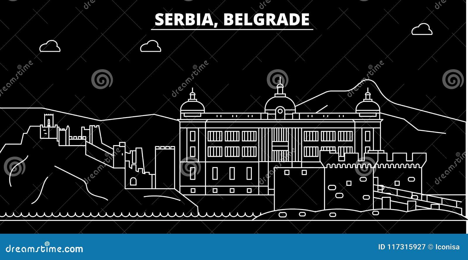 Serbisch Frohe Weihnachten.Belgrad Schattenbildskyline Serbien Belgrad Vektorstadt