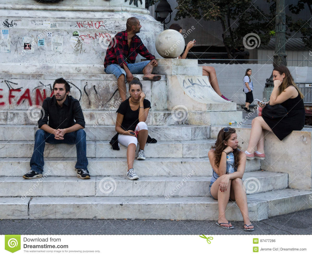 Belgrade Serbia August 2 2015 People Young Girls Boys And An