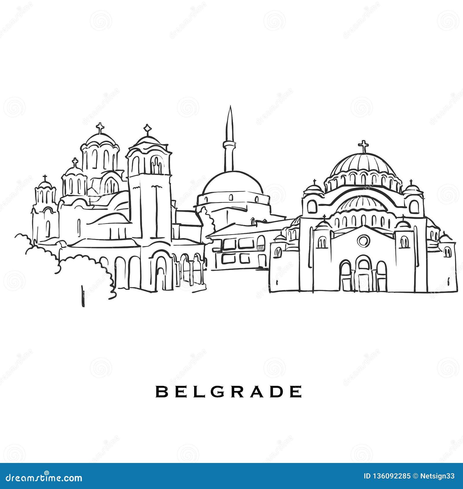 Belgrade Serbia Famous Architecture Stock Vector
