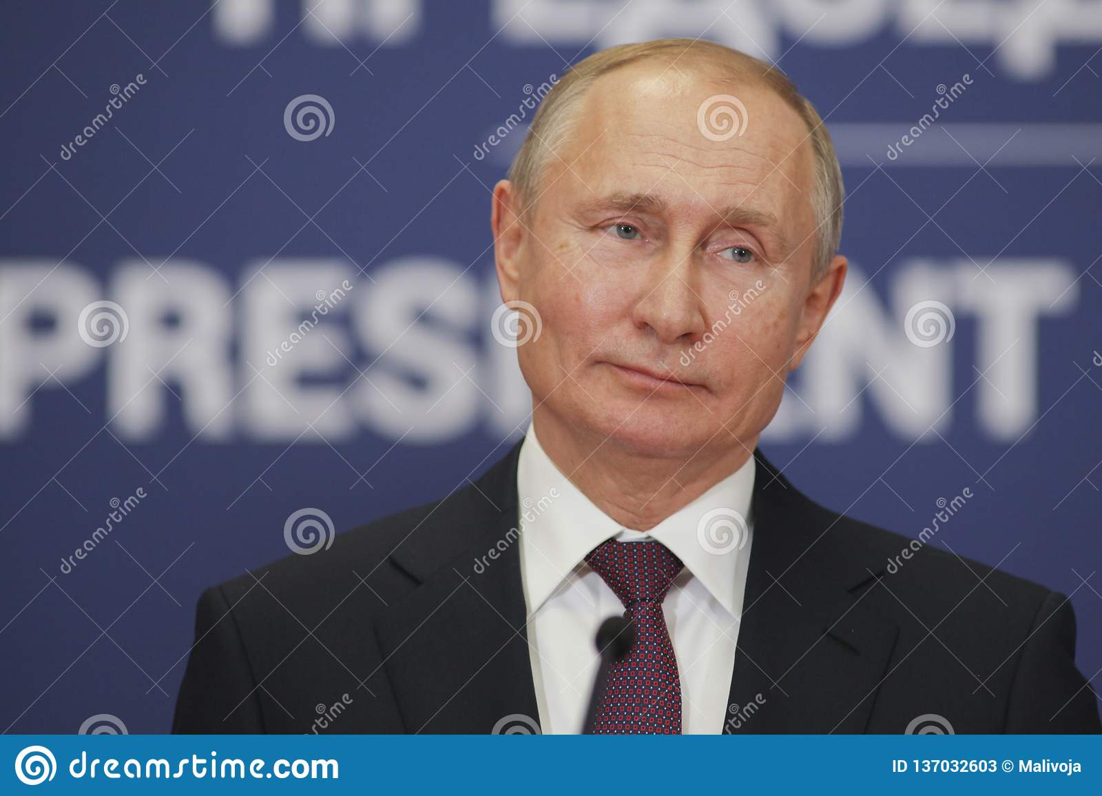 Belgrade, Serbia - January 17, 2019 : Vladimir Putin, the President of Russian Federation in press conference at the Palace of Ser