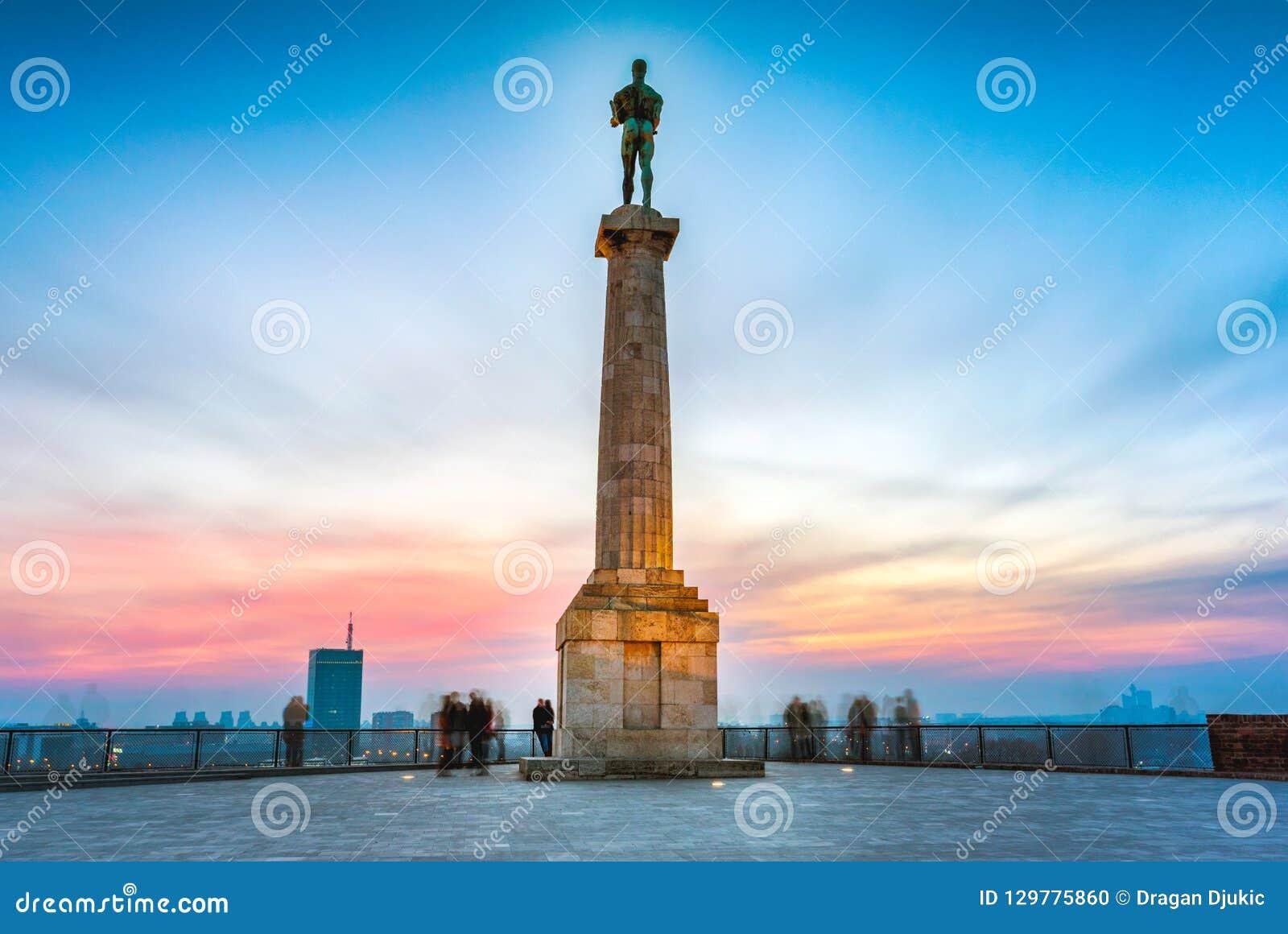 Belgrade at sunset. Pobednik statue