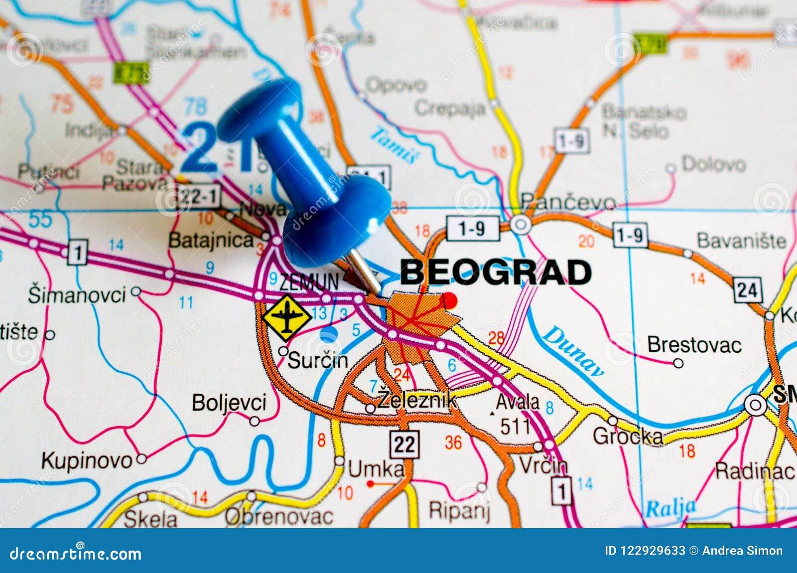 Belgrade sur la carte