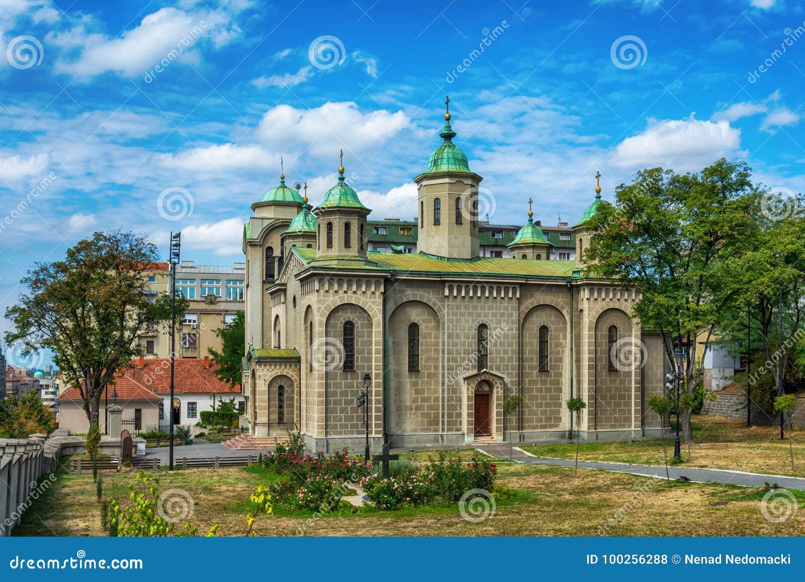 Belgrado, Serbia 07/09/2017: Chiesa dell ascensione, Belgraderom il punto di vista sul san Sava del tempio