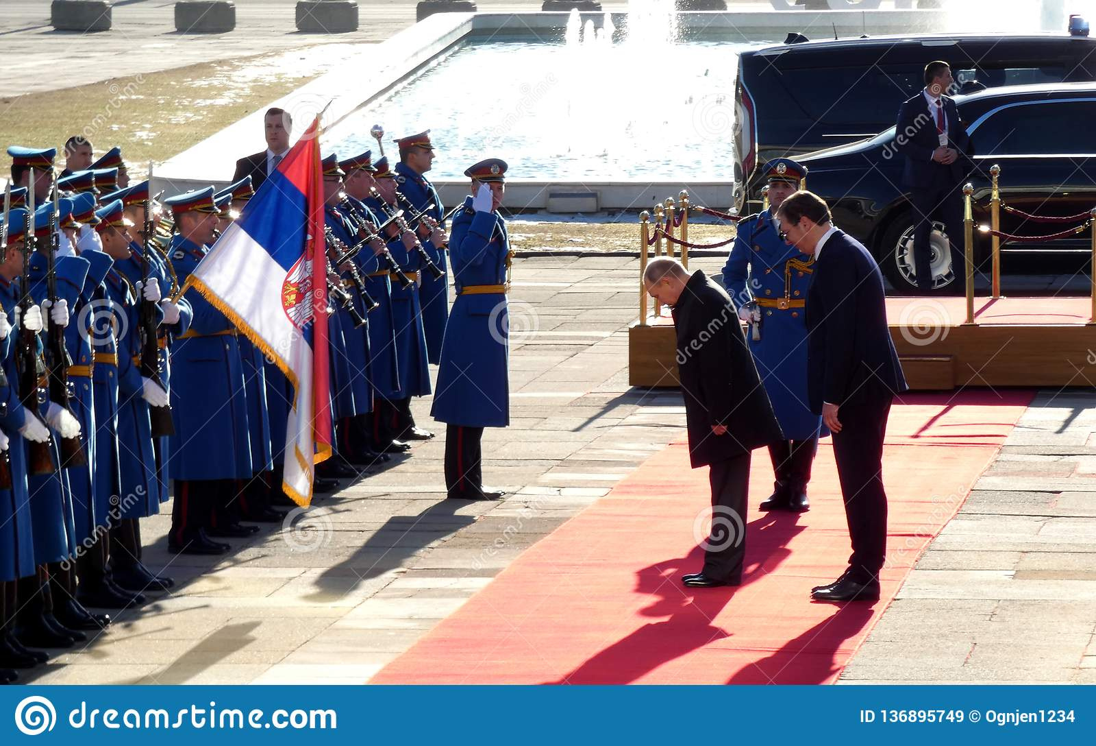 Belgrado, Servië 17 januari 2019 Voorzitter van Russische Federatie, Vladimir Putin in officieel bezoek aan Belgrado, Servië