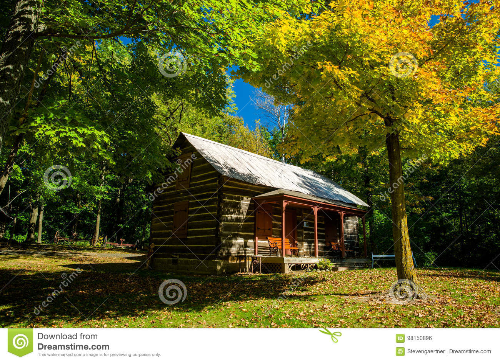 Beli kabina, jesień, almelund, Minnesota