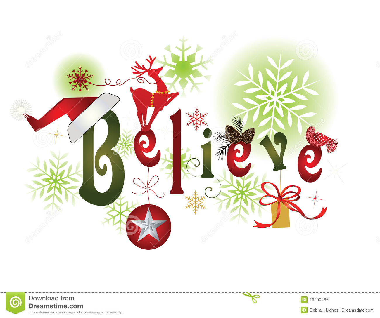 BELIEVE -Christmas message stock vector. Illustration of adorable ...