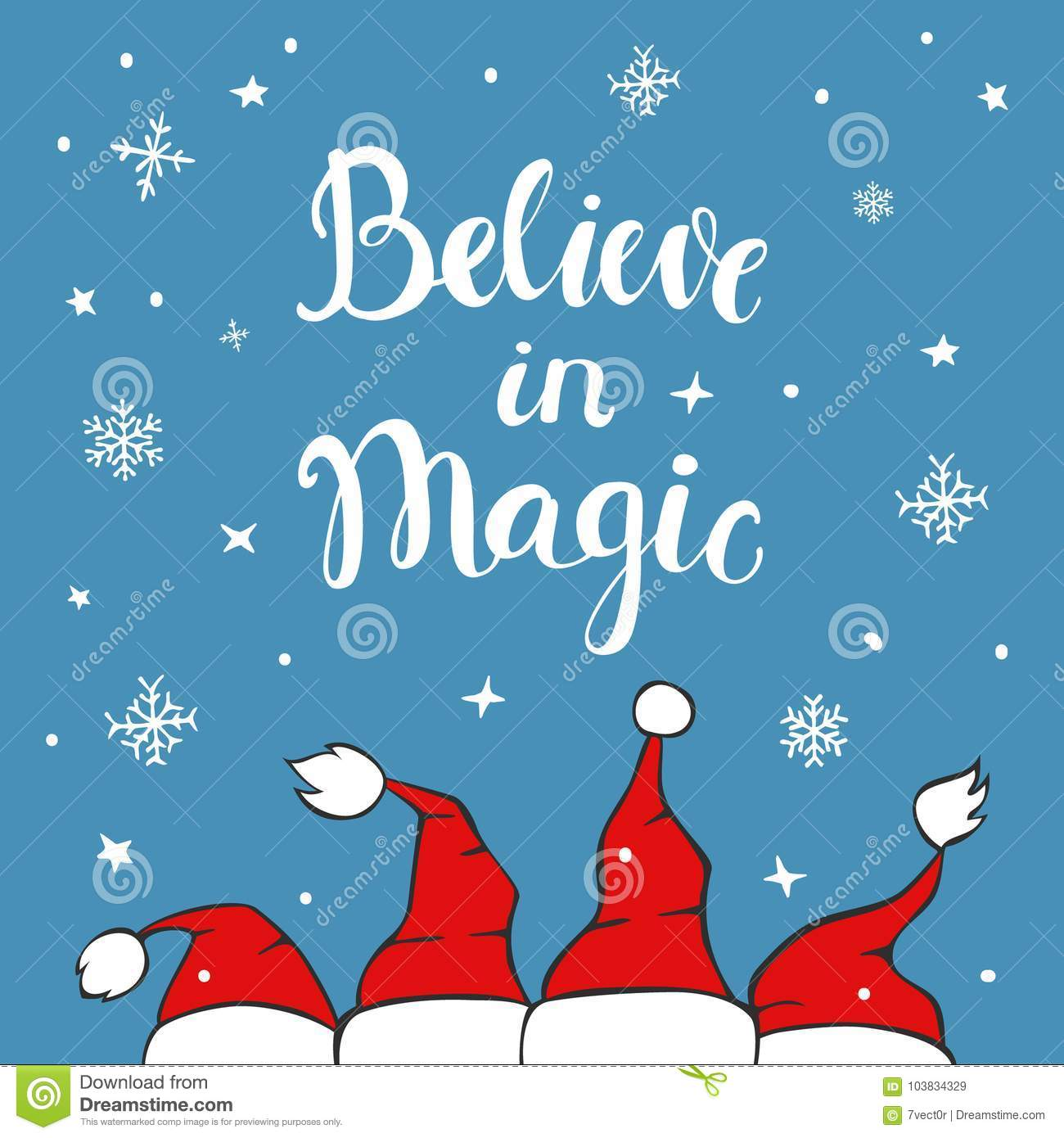 I Believe In Christmas.Believe In Magic Xmas Background Greeting Card Stock Vector