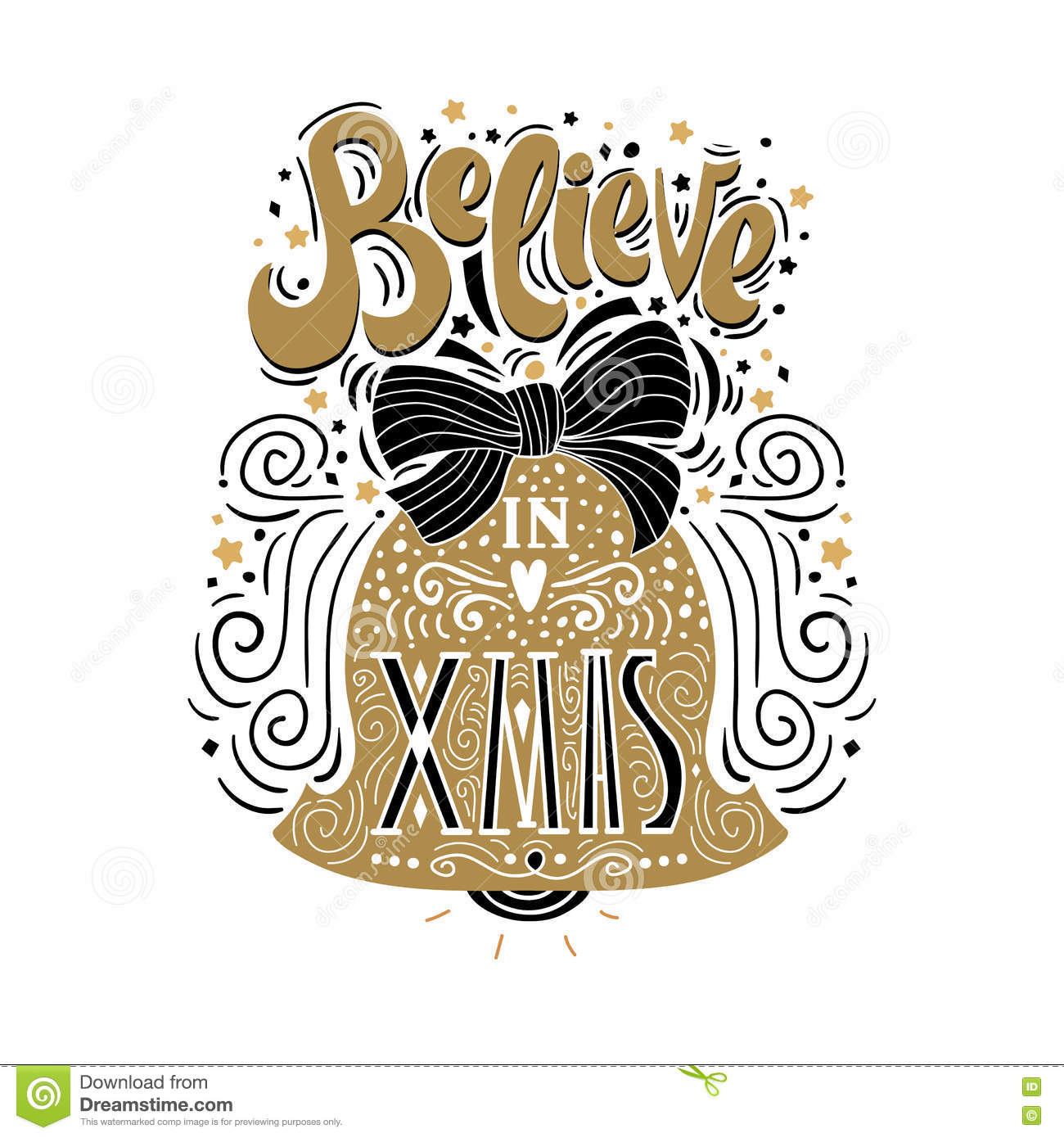 Believe In X Mas- Christmas Typographic Poster, Greeting Card, Print. Winter Holiday Saying.Hand ...