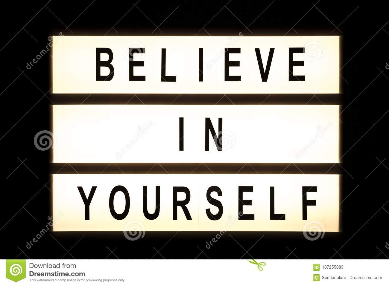 Believe In Yourself Hanging Light Box Stock Image - Image of