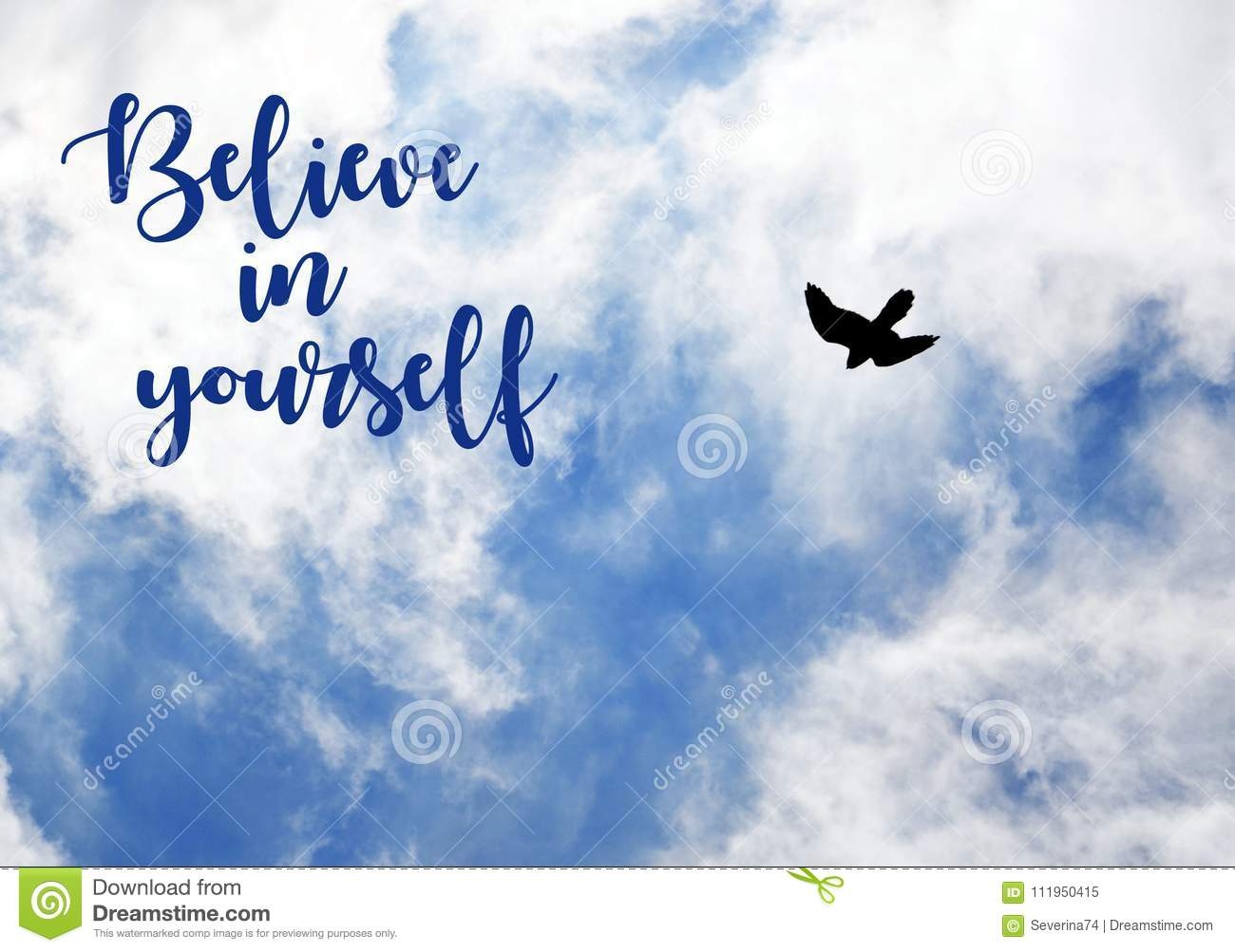 Believe In Yourselfmotivation Inspirational Quote On Blue Sky With