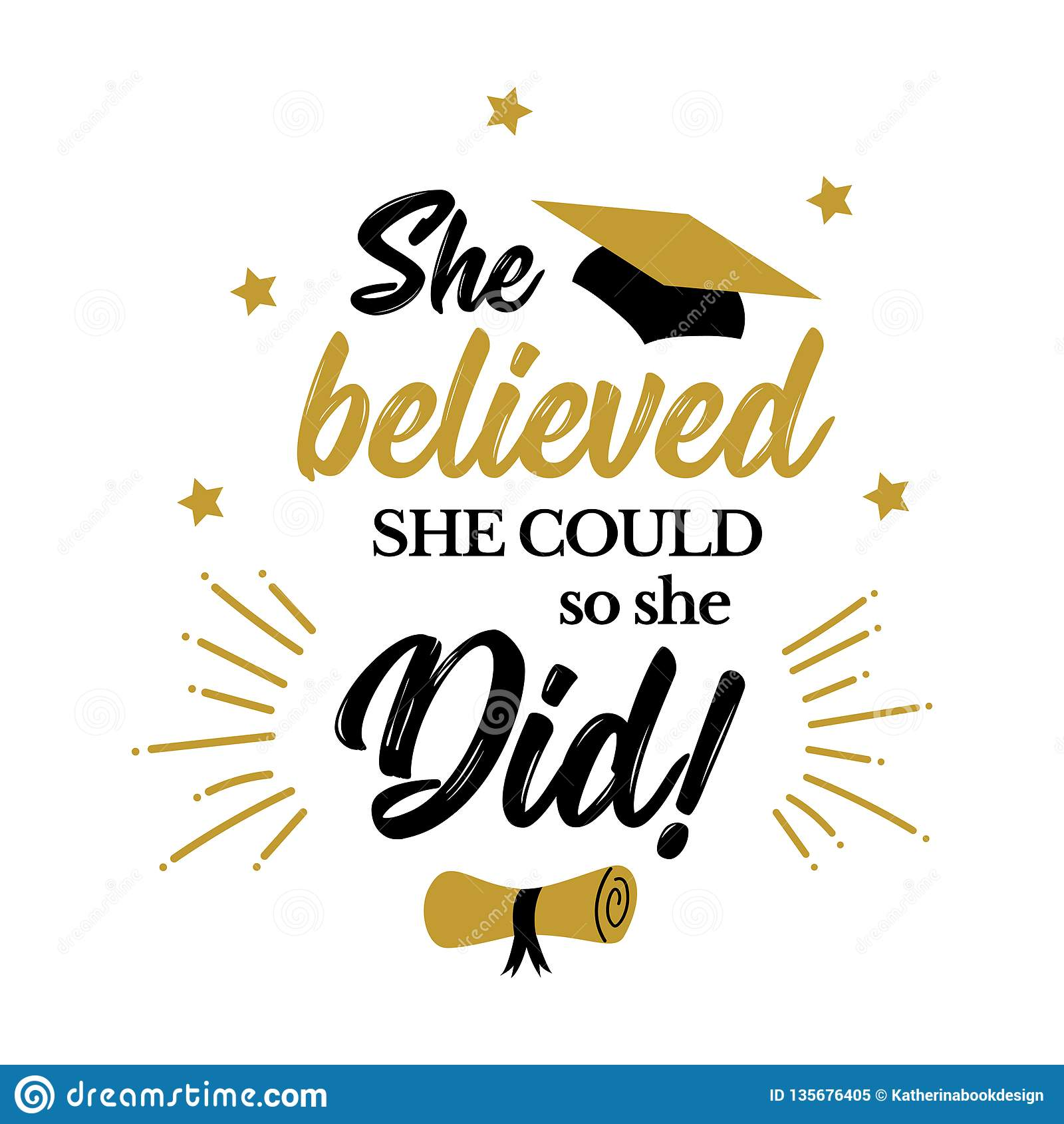 she believed she could so she did congrats grad stock vector