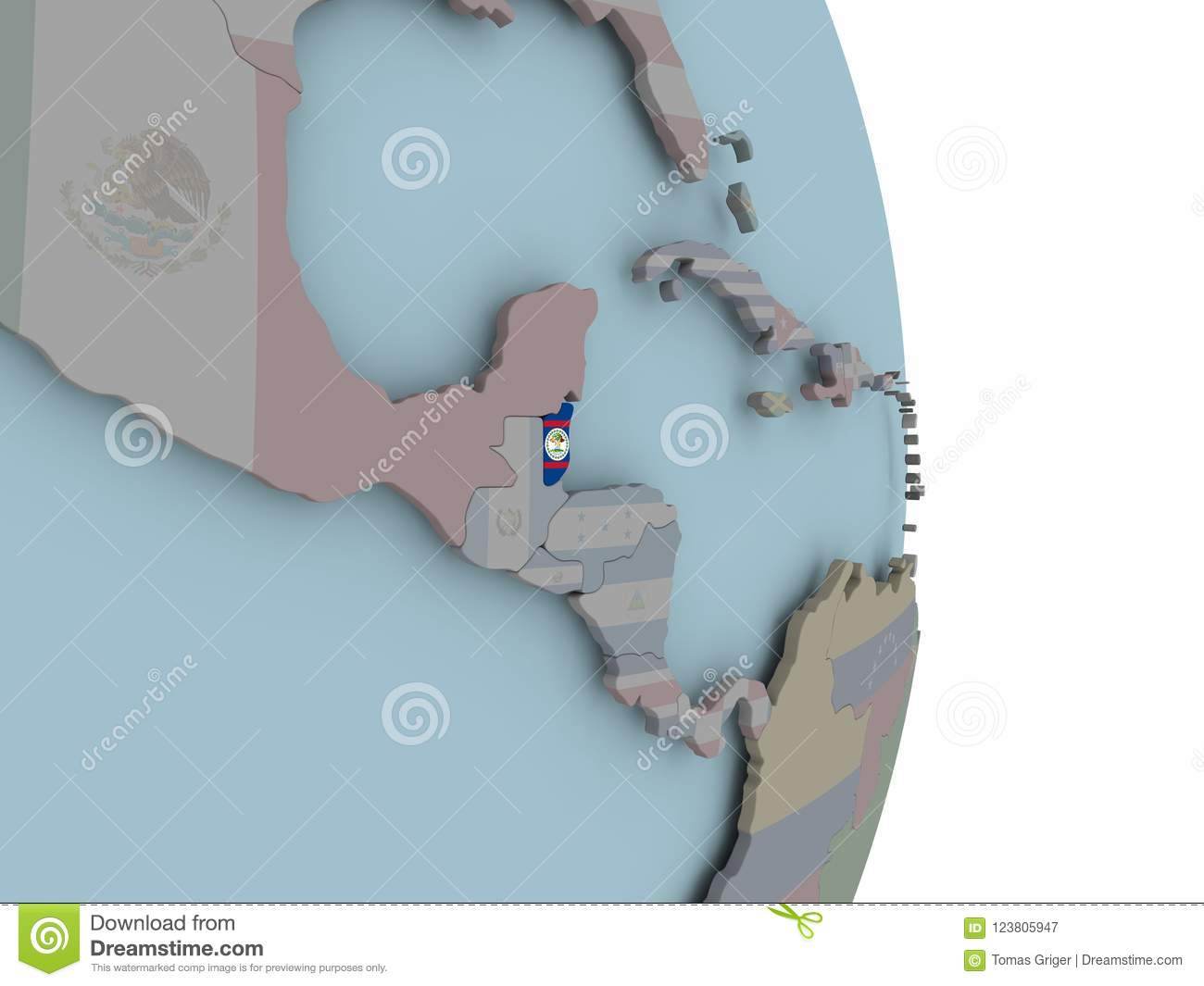Political Map Of Belize.Map Of Belize On Political Globe With Flag Stock Illustration
