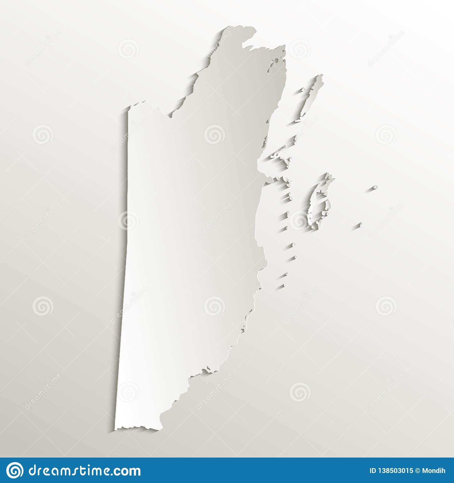 Belize Map Card Paper 3D Natural Blank Stock Vector ...