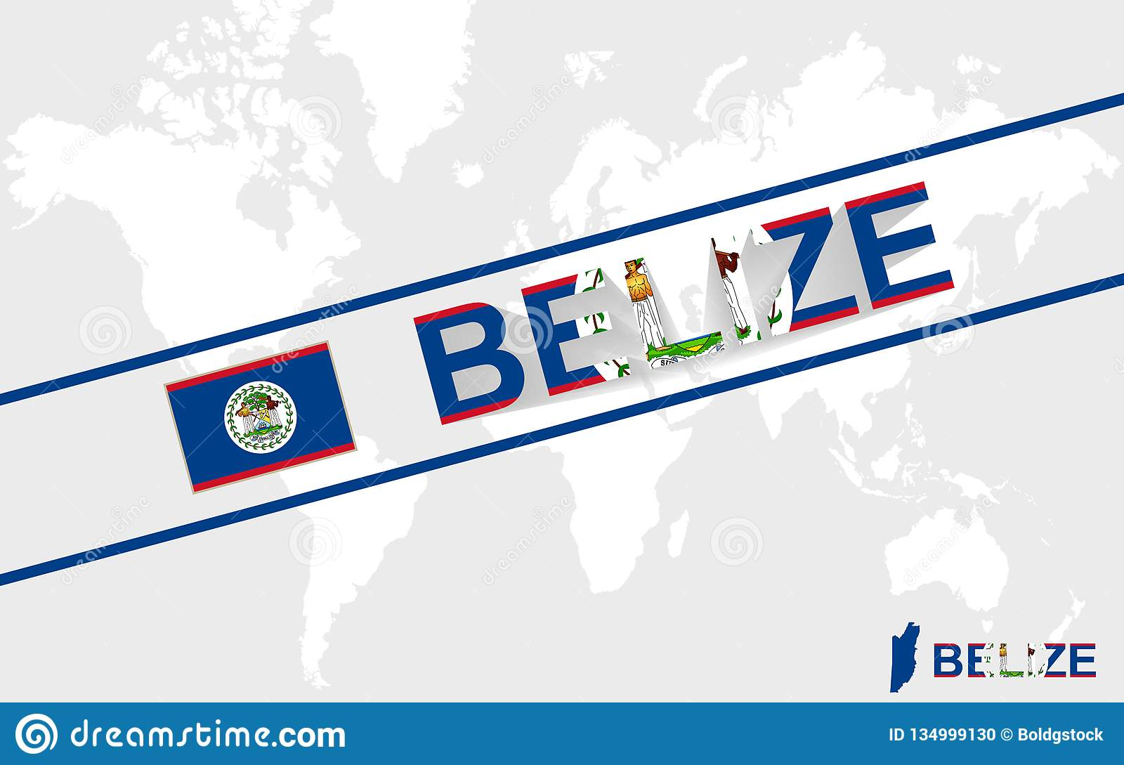 Belize Map Flag And Text Illustration Stock Vector Illustration Of