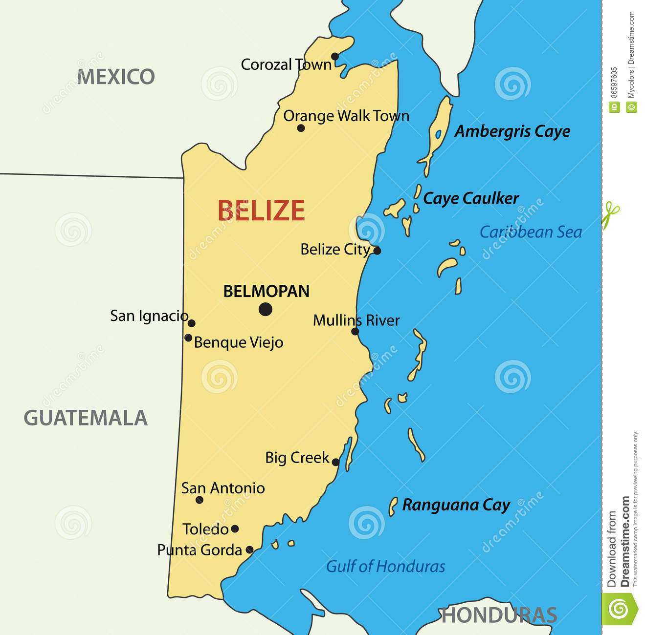 Belize - Vector Map Of Country Stock Vector - Illustration of ...