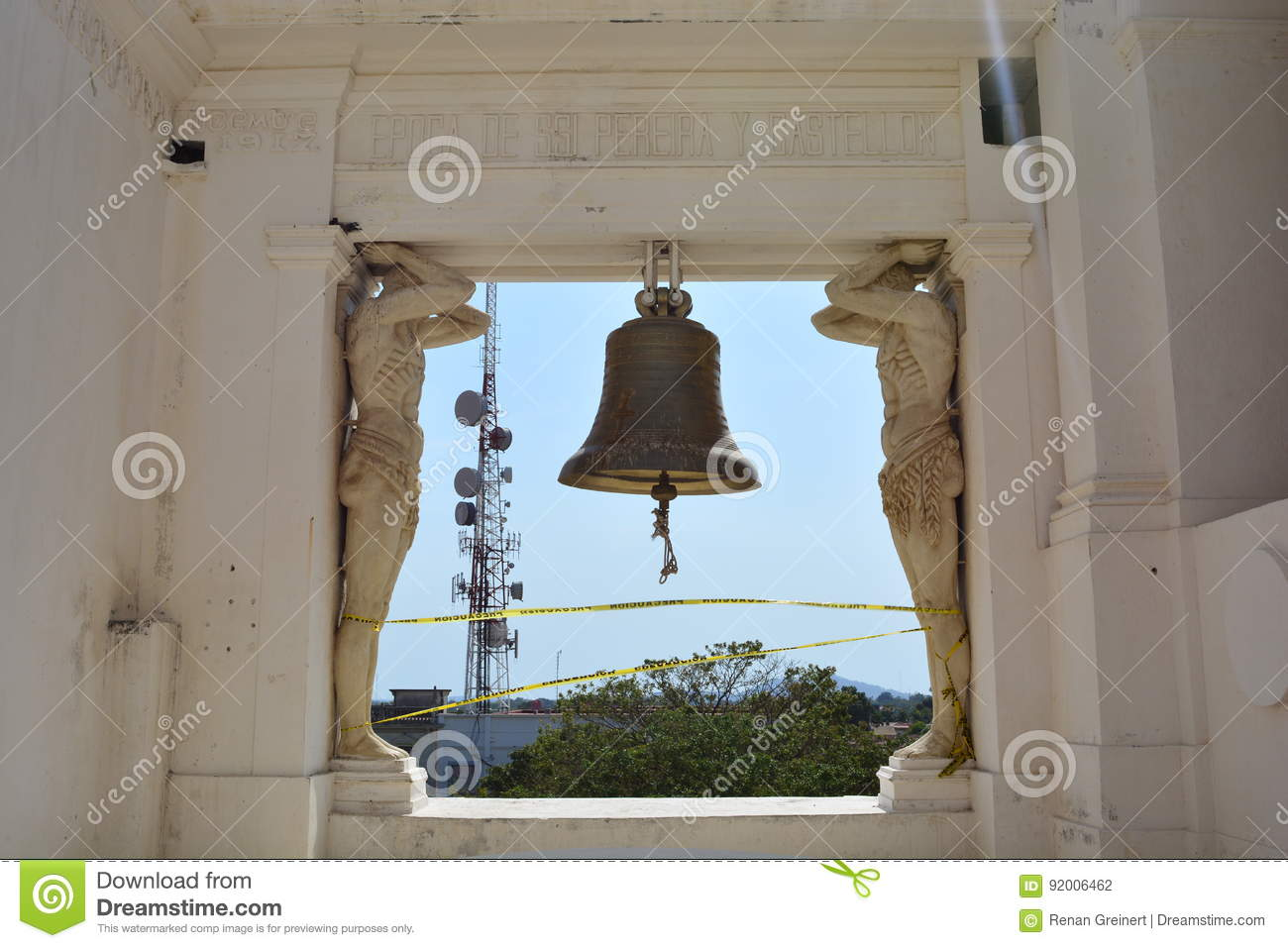 The bell of the Cathedral of Leon, an UNESCO Heritage Centre in Nicaragua