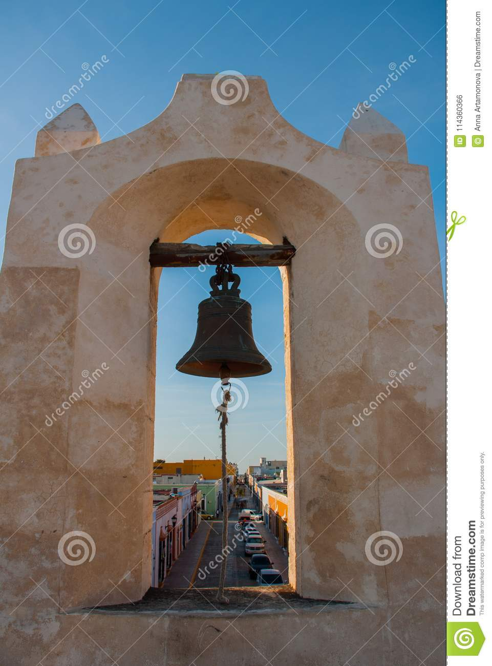 The bell on the guard tower in San Francisco de Campeche, Mexico. View from the fortress walls