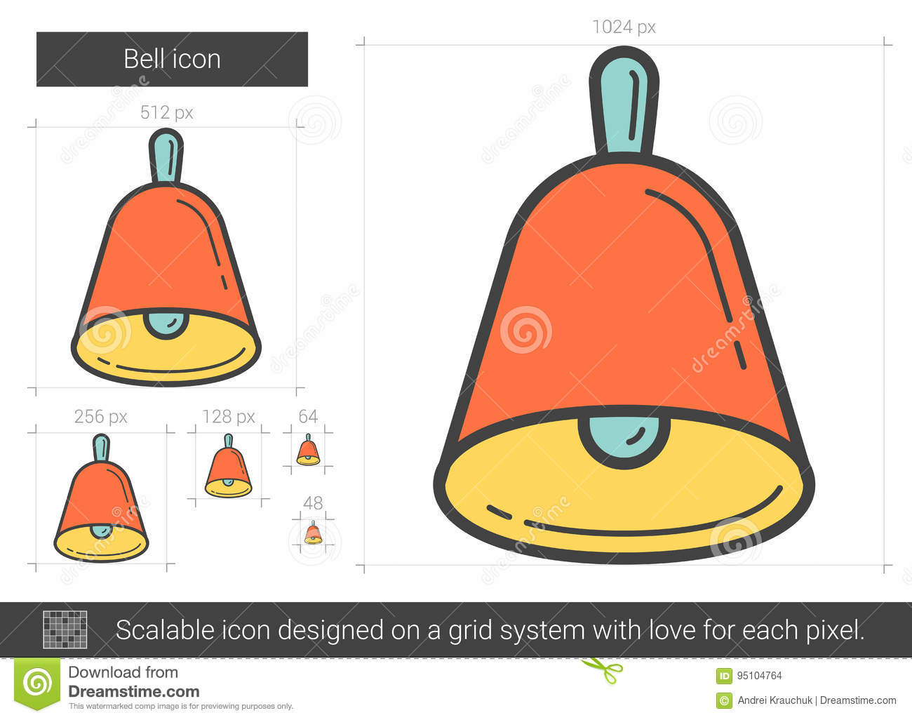 Bell line icon  stock vector  Illustration of decorate - 95104764
