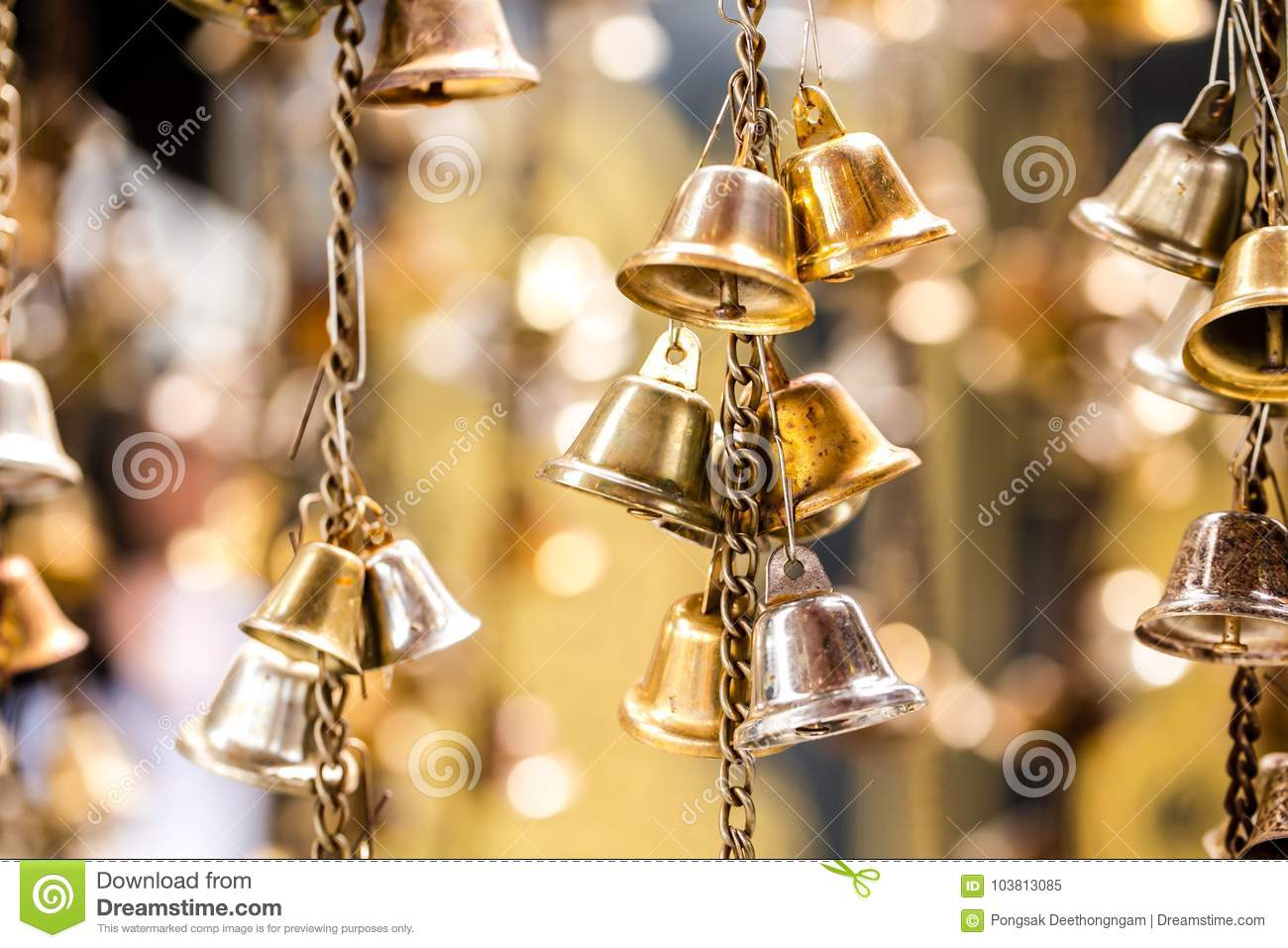 Bell at a temple  stock image  Image of bell, background - 103813085
