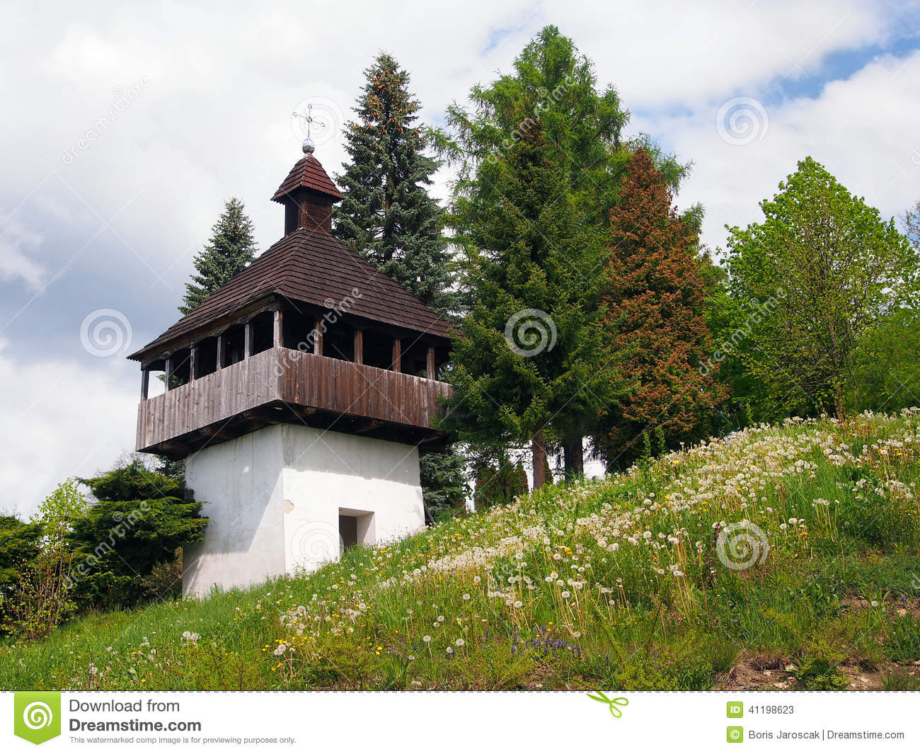 Bell tower in Istebne village, Slovakia.
