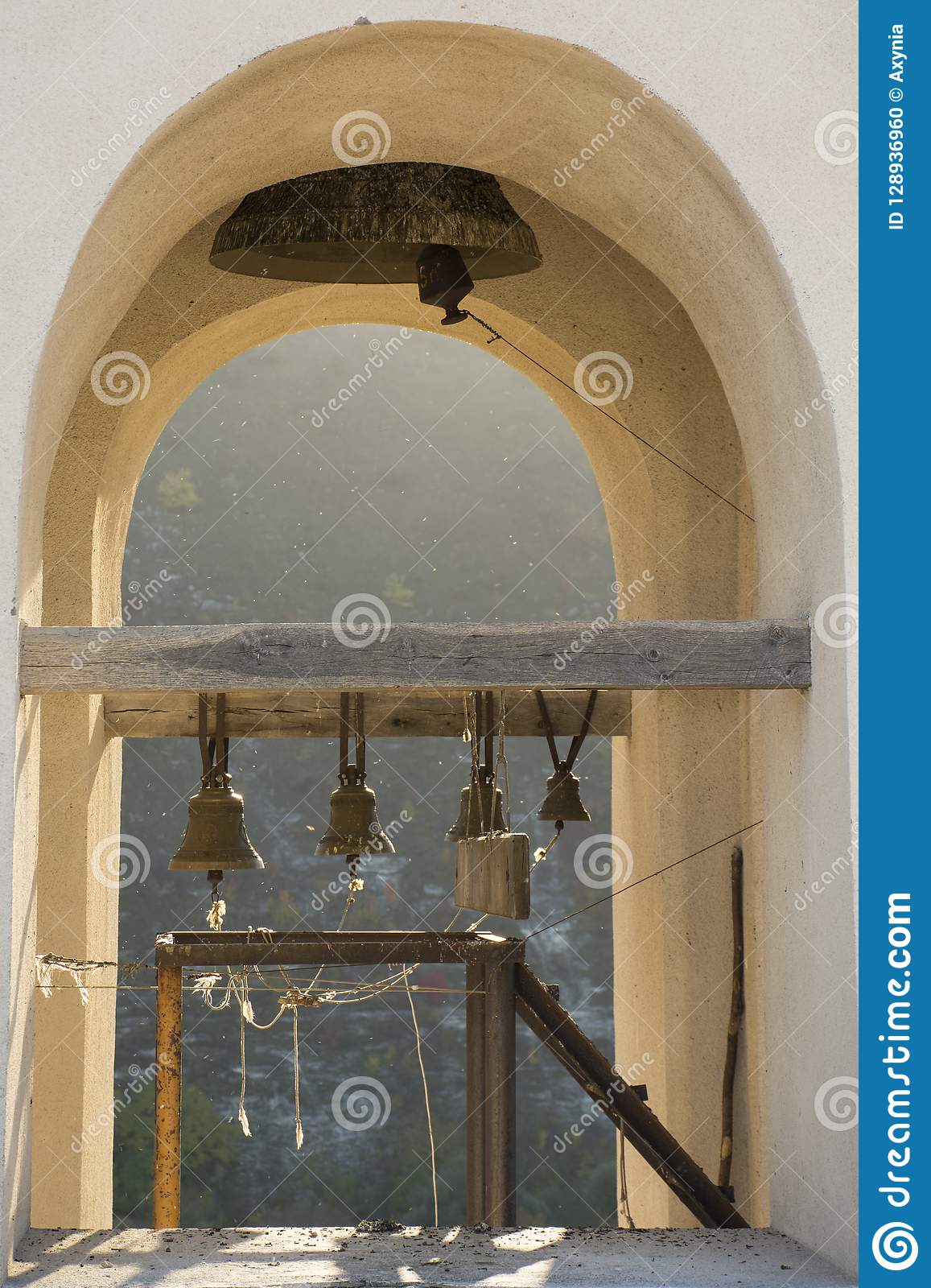 Bell tower in Old Orhei, Moldova landmark. Christian Orthodox rock monastery