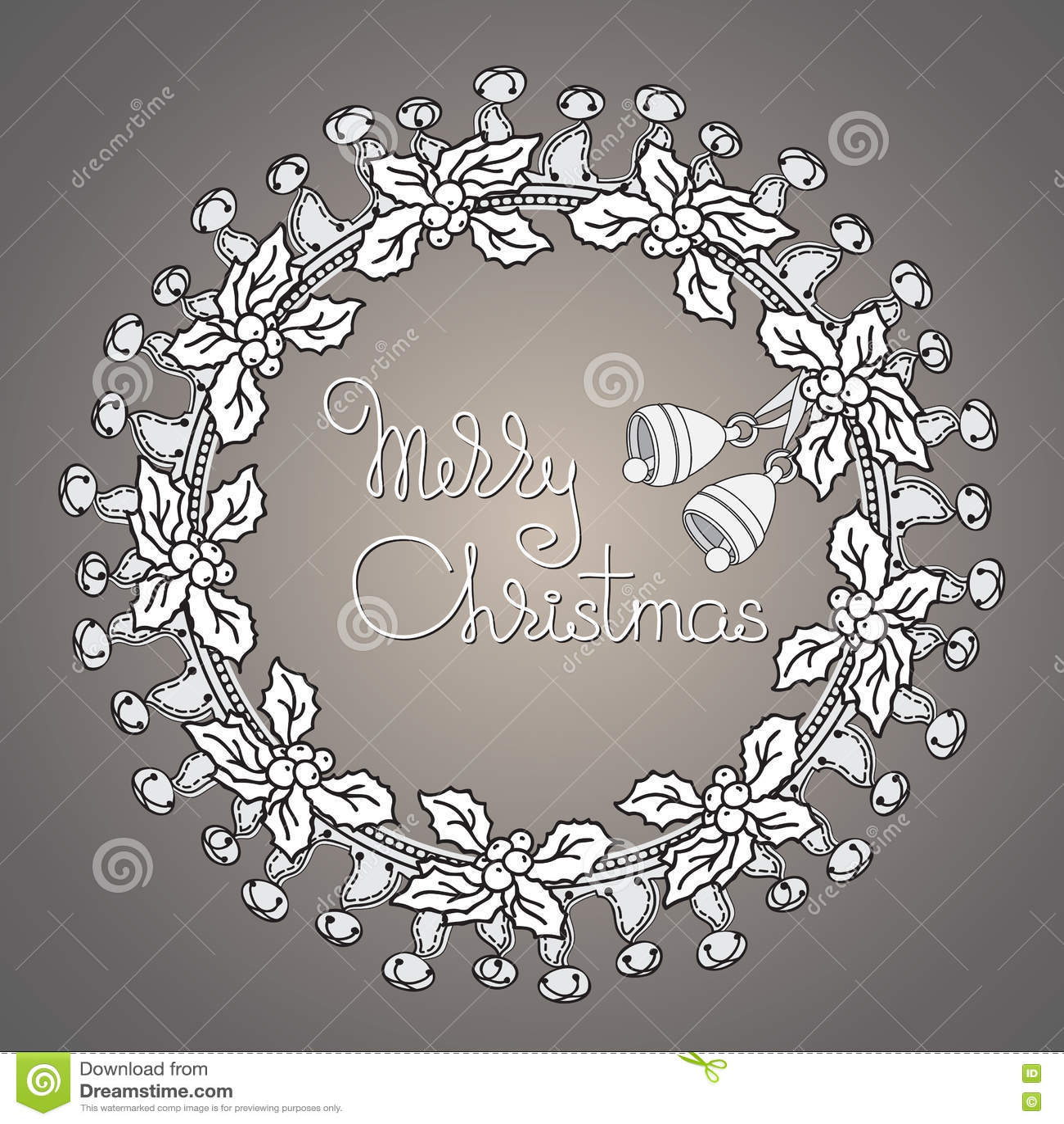Bell Und Kranz, Handgeschriebene Wörter Frohe Weihnachten Vektor ...