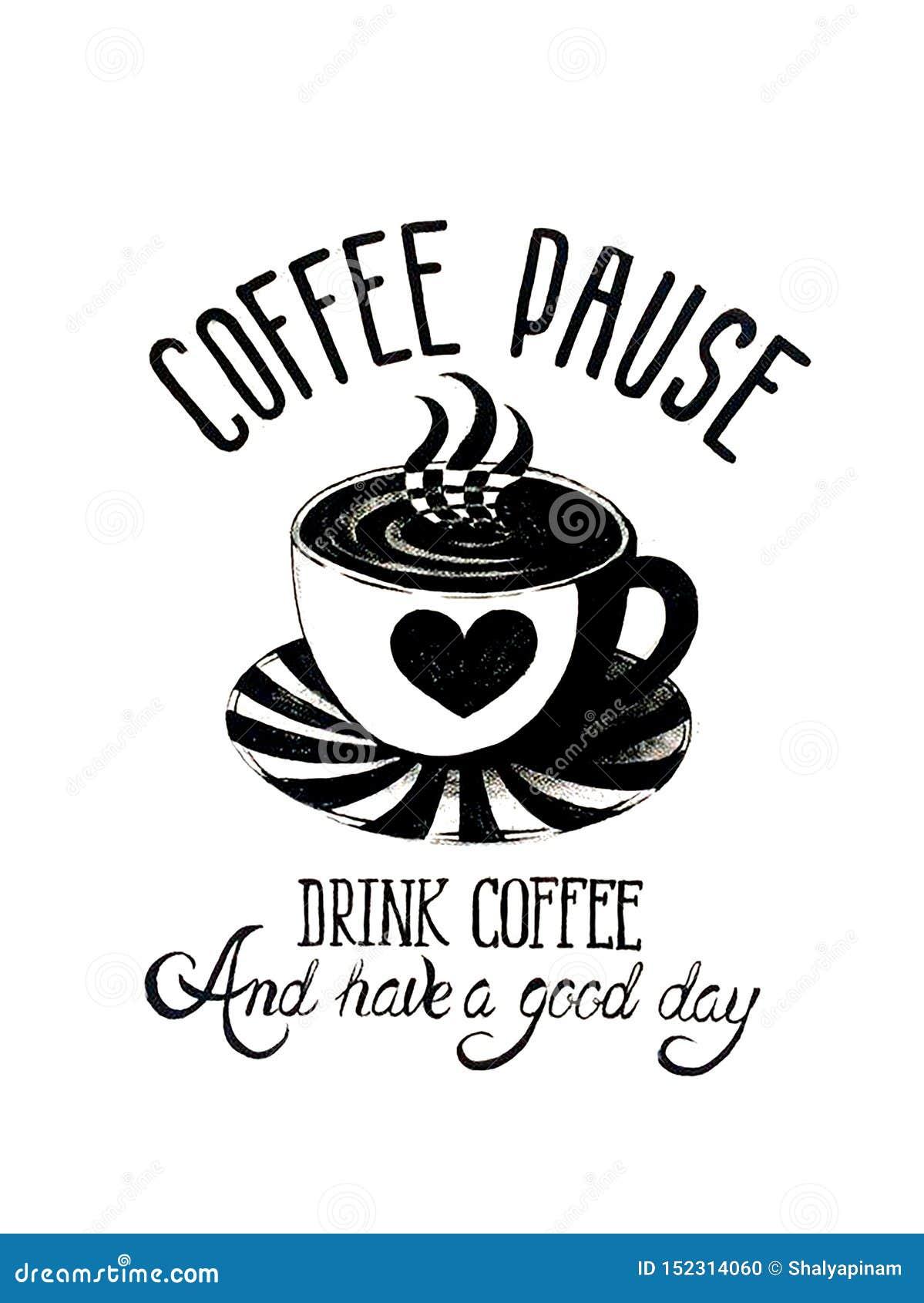 Bella carta con la tazza e l iscrizione di caffè