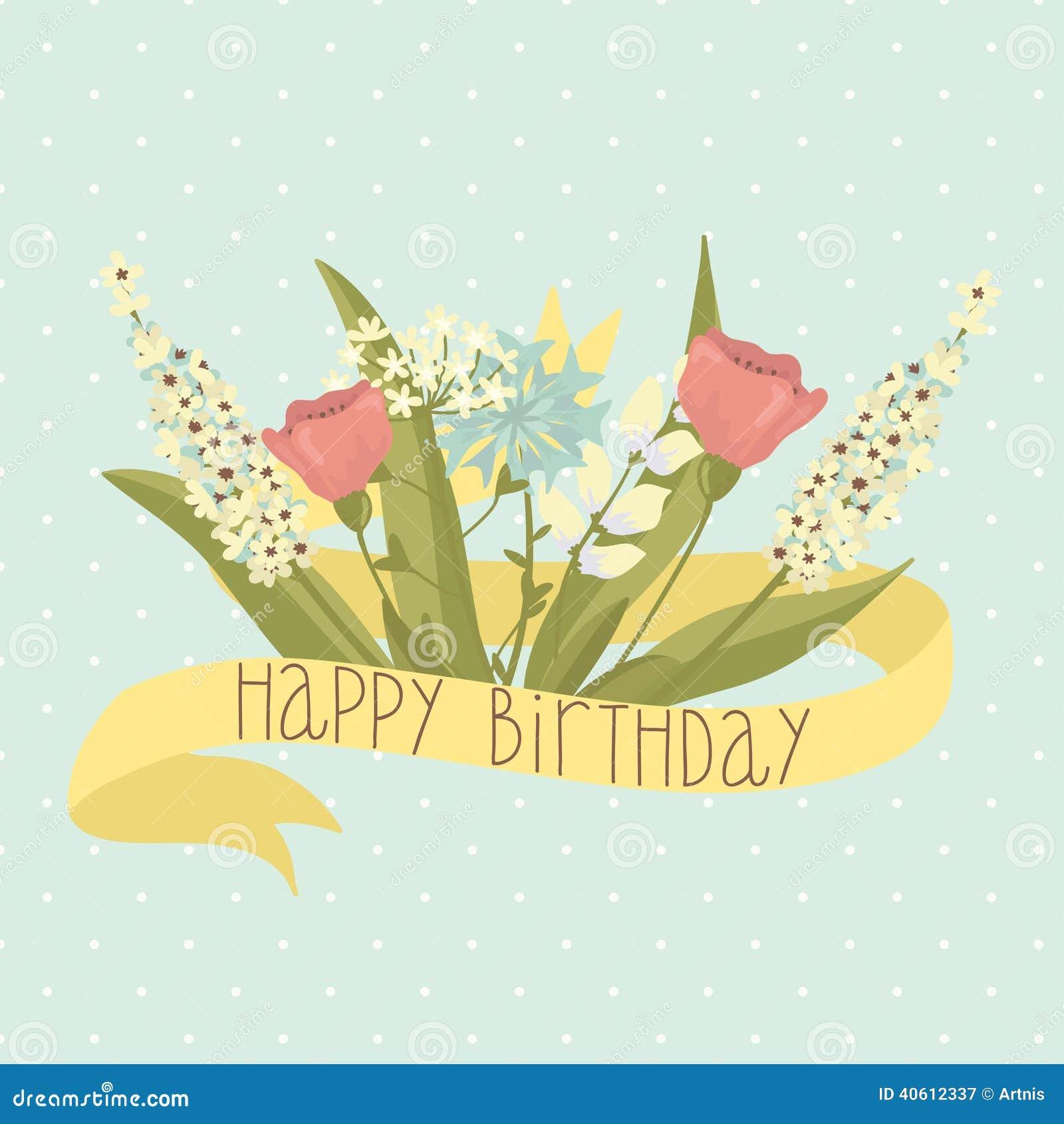 Auguri di buon compleanno con i fiori invito del partito di