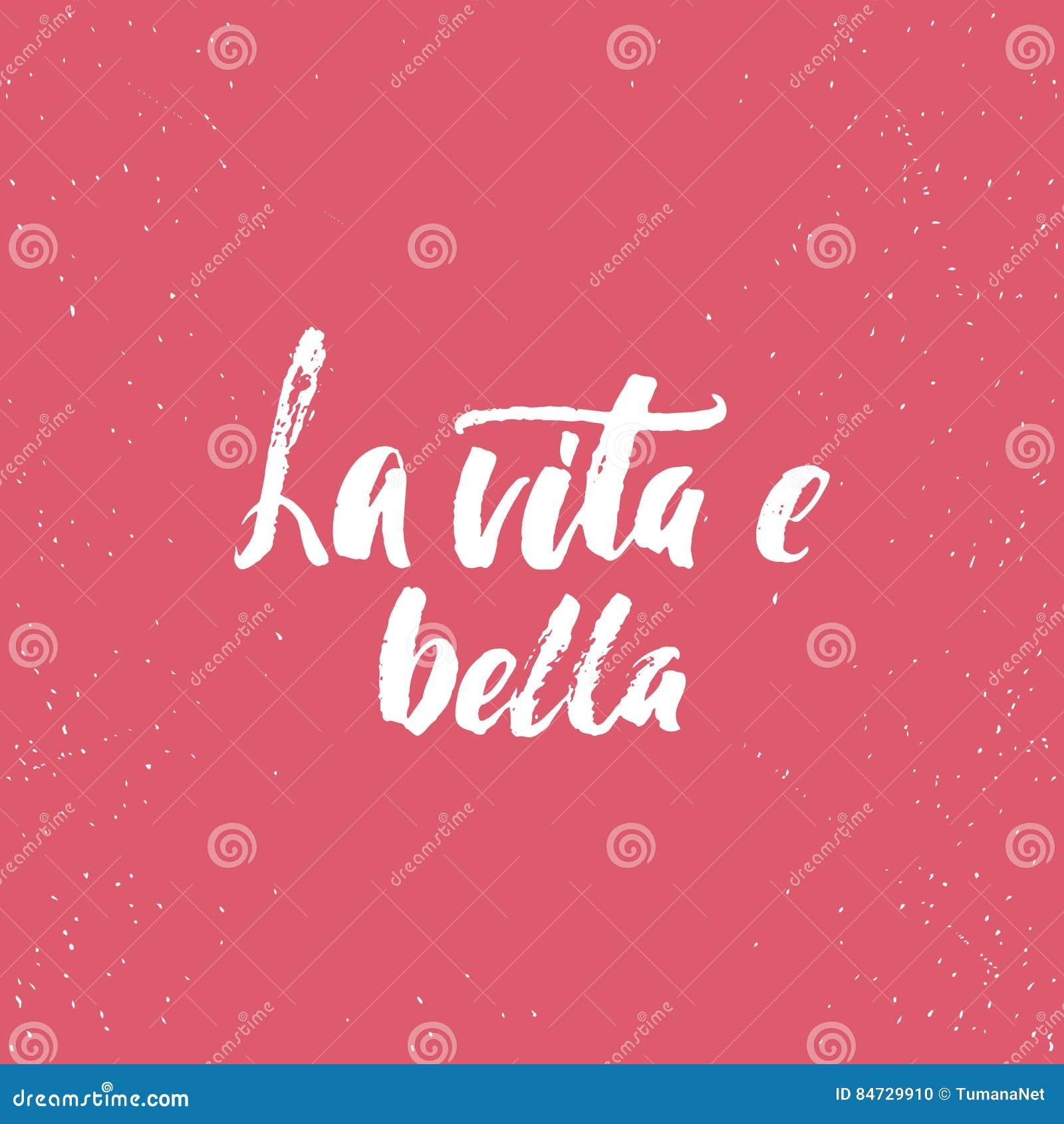 Bella Del Vita E Del La Frase Italiana De La Caligrafía De Las