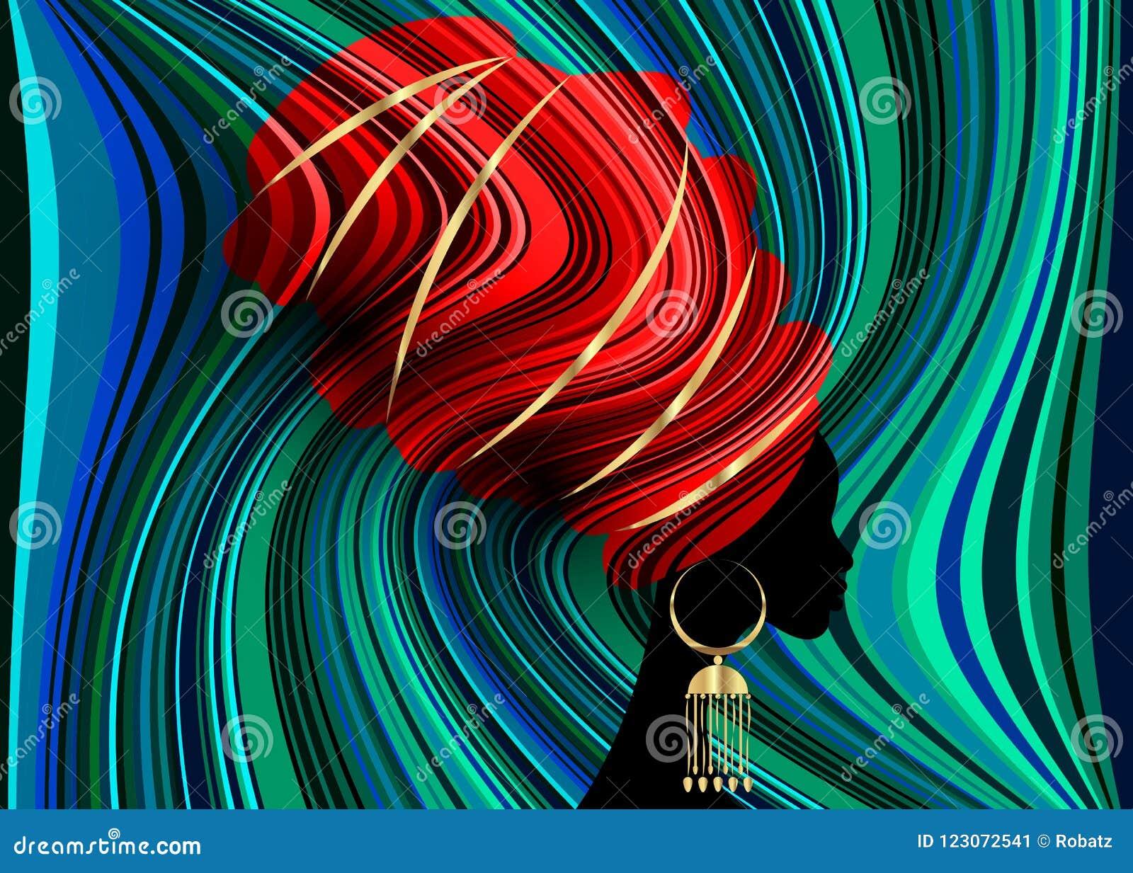Bella donna africana del ritratto in involucro rosso africano, stampa tradizionale di dashiki, donne nere della testa di Kente de